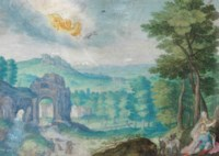 A mountainous landscape with Venus and Adonis and Venus' chariot in the sky