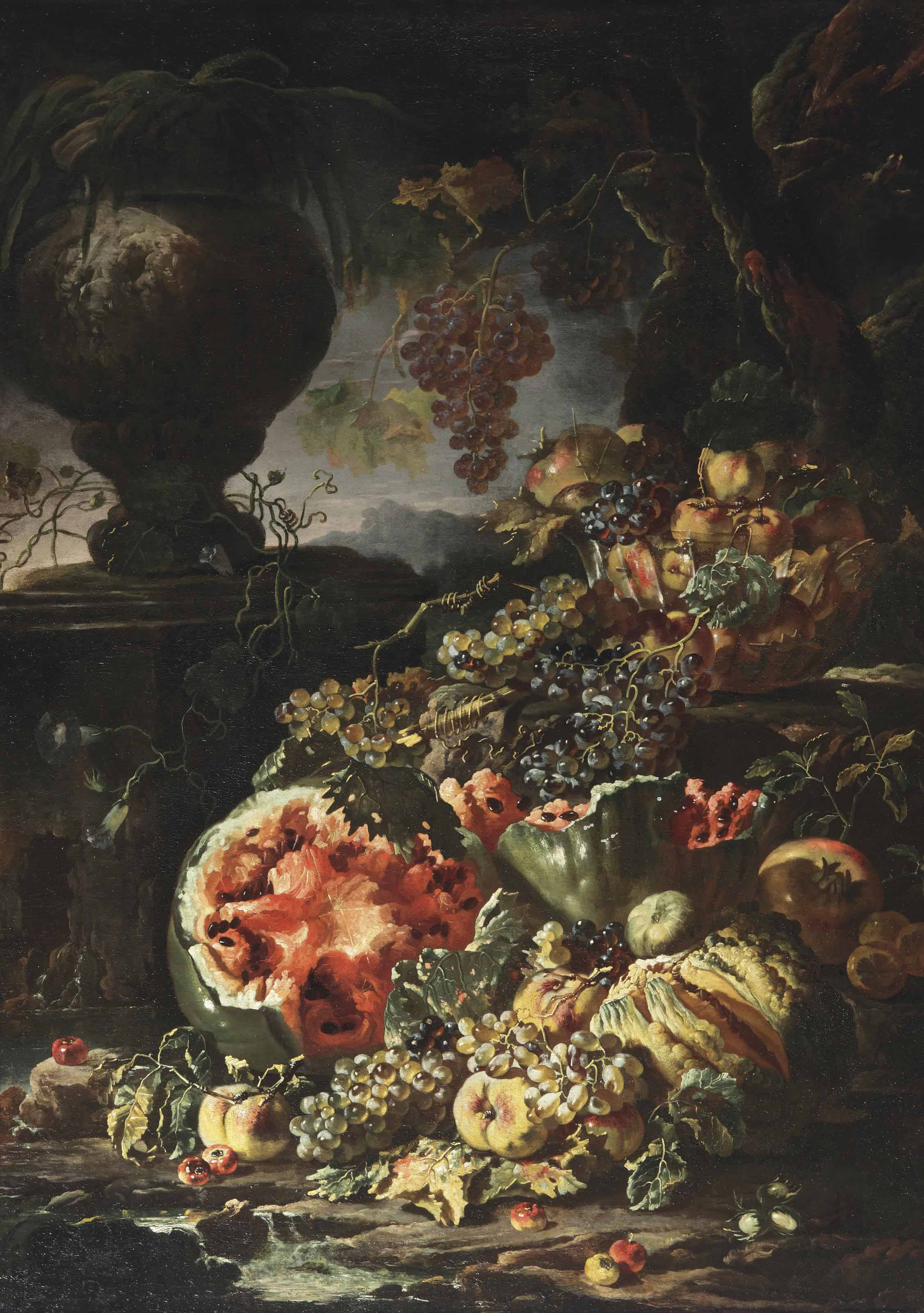 Watermelons, apples, grapes and other fruit, a glass bowl filled with apples and a pomegranate, a stone garden vase, all set in a landscape by a stream