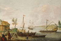 An estuary with fishermen unloading their catch, a fortification, a Dutch galley and a Dutch merchant ship
