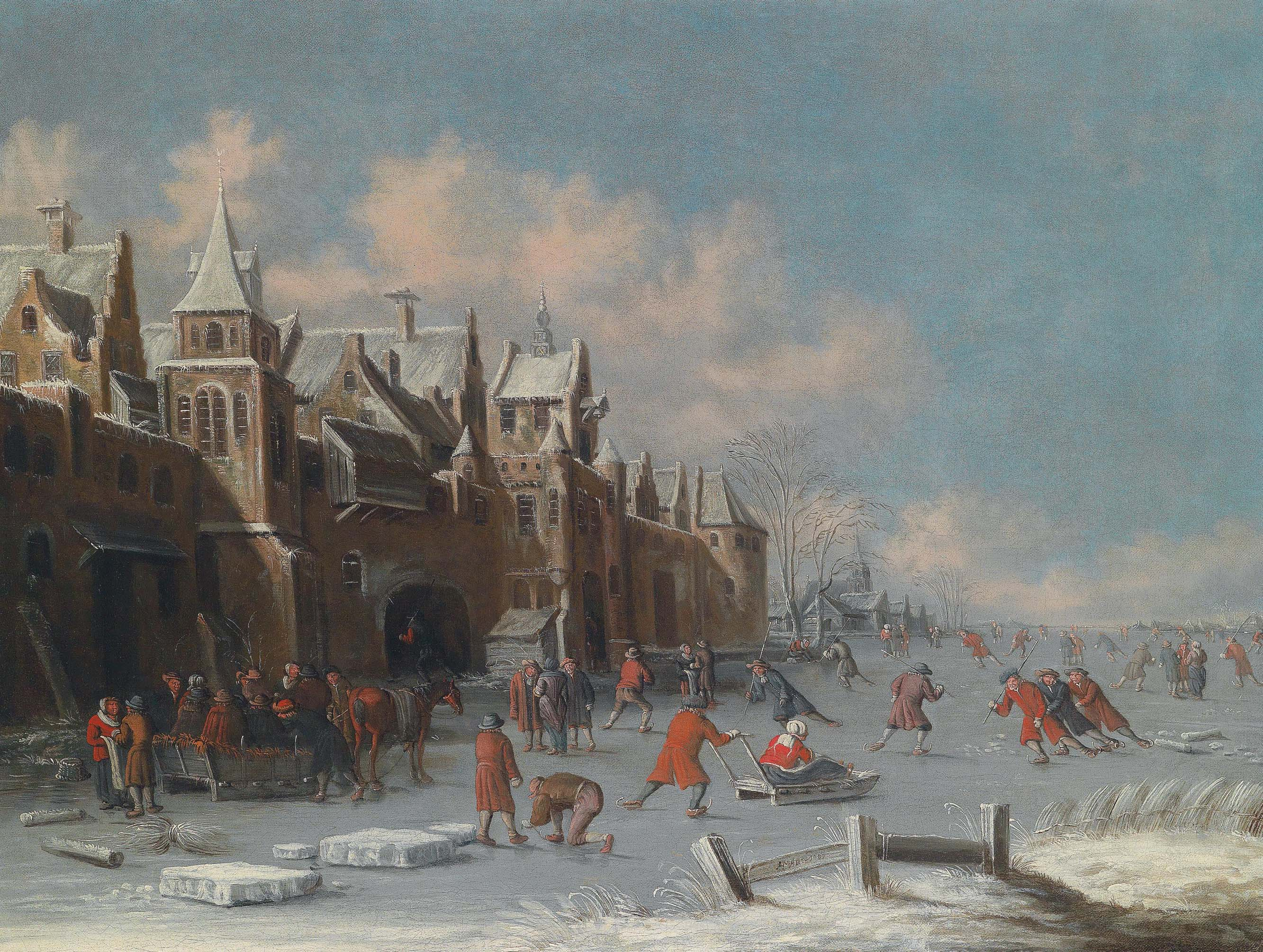 Skaters on the ice outside the gates of a Dutch city
