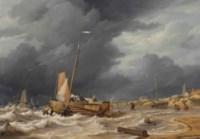 A botter braving a storm near Scheveningen