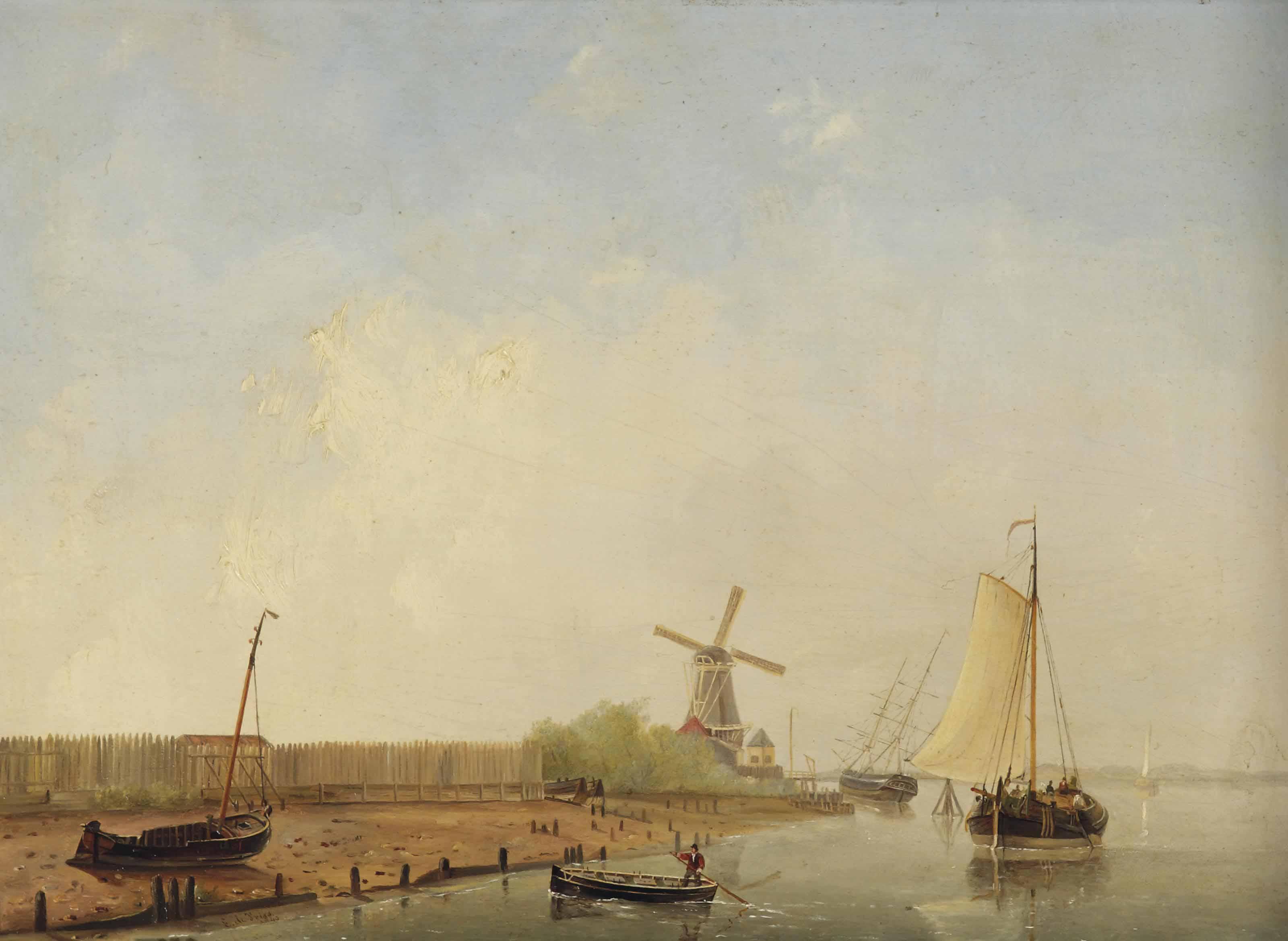 Ships on a calm river near a shipyard