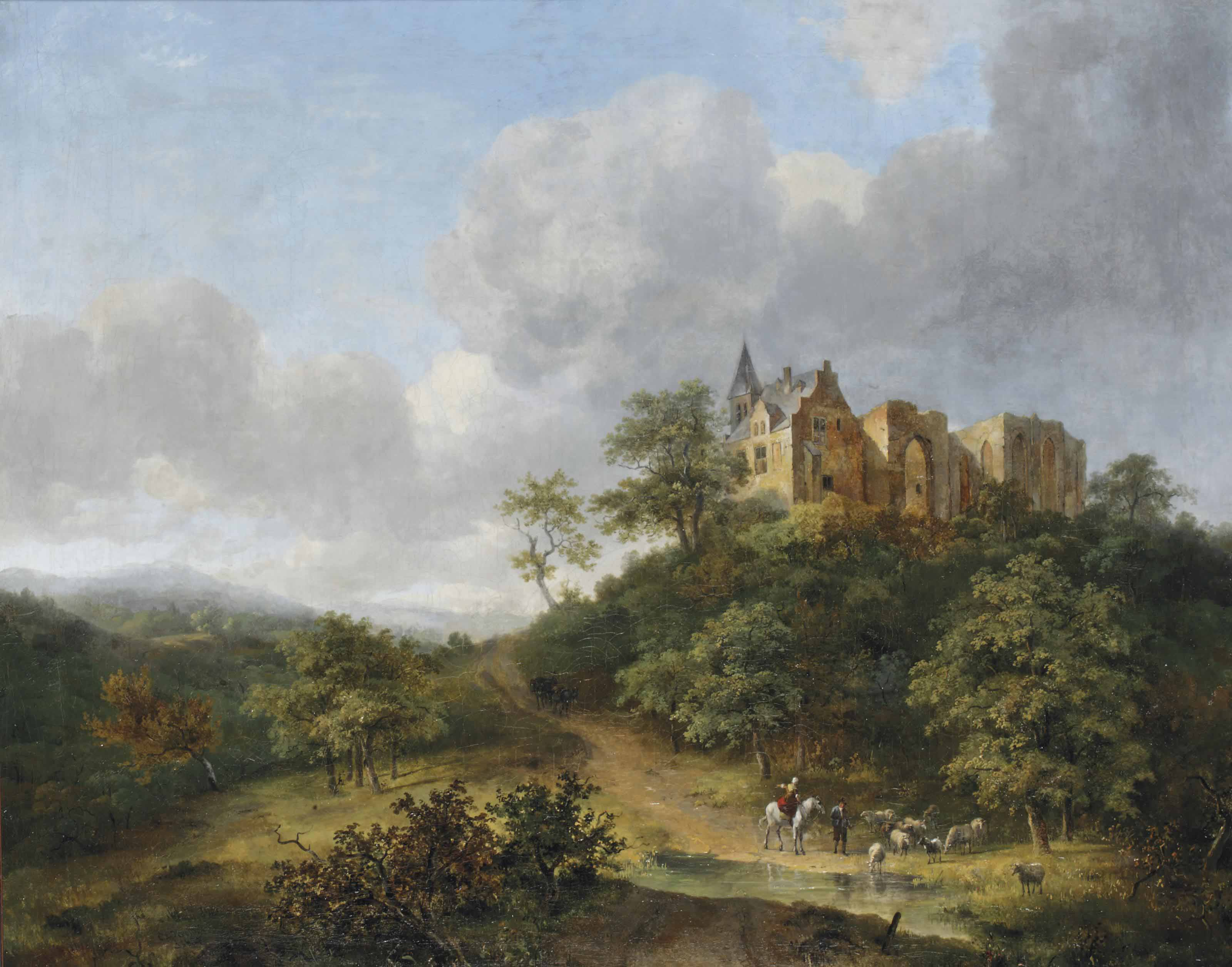 Shepherds watering their cattle near the ruins of the St. Vitus convent on the Elterberg