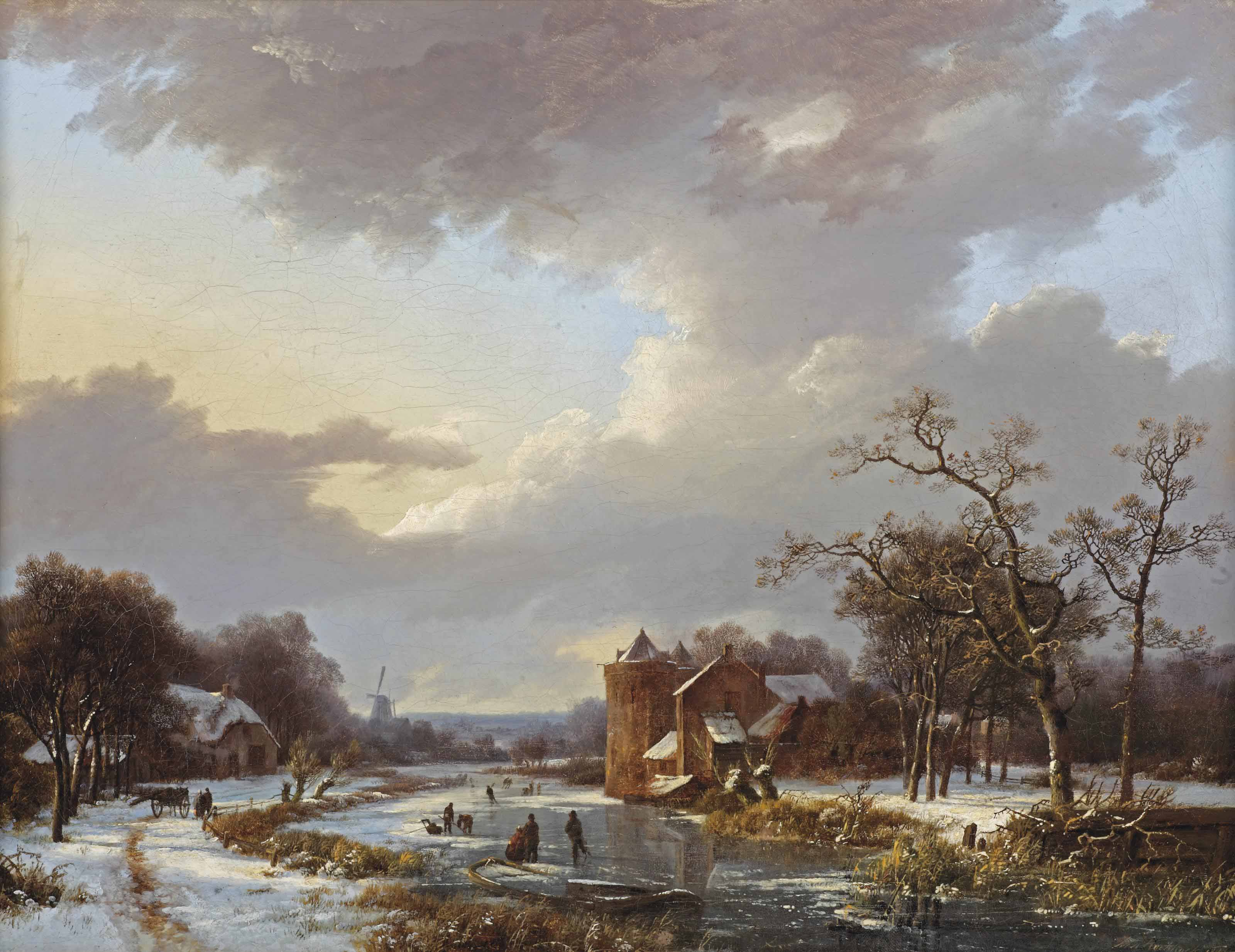 A winter scene with figures on a frozen waterway by a castle