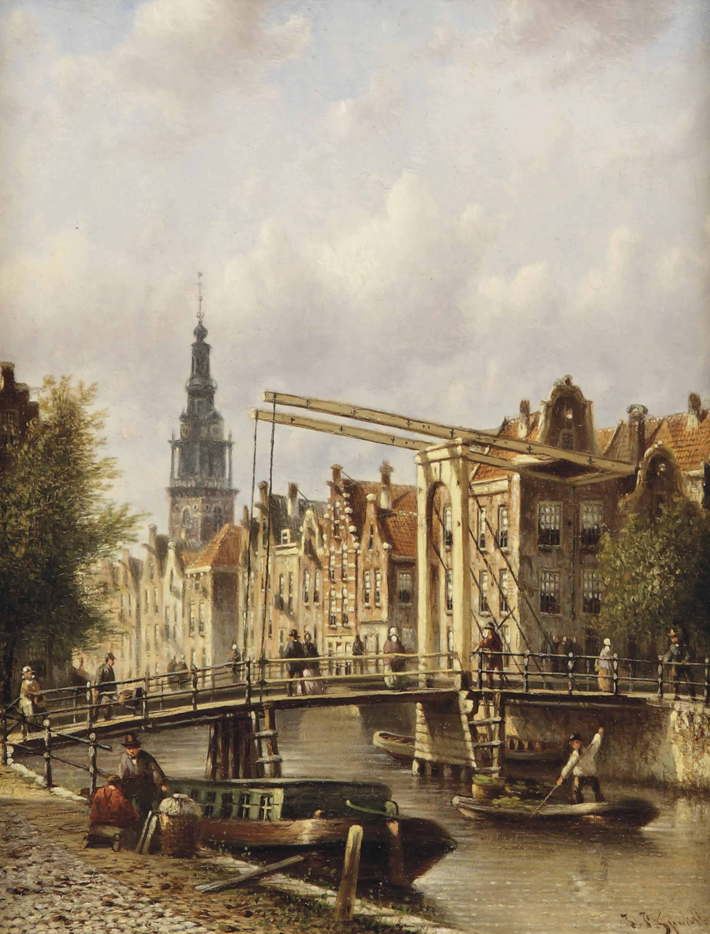 A view from the Groenburgwal in Amsterdam, the Zuiderkerk beyond