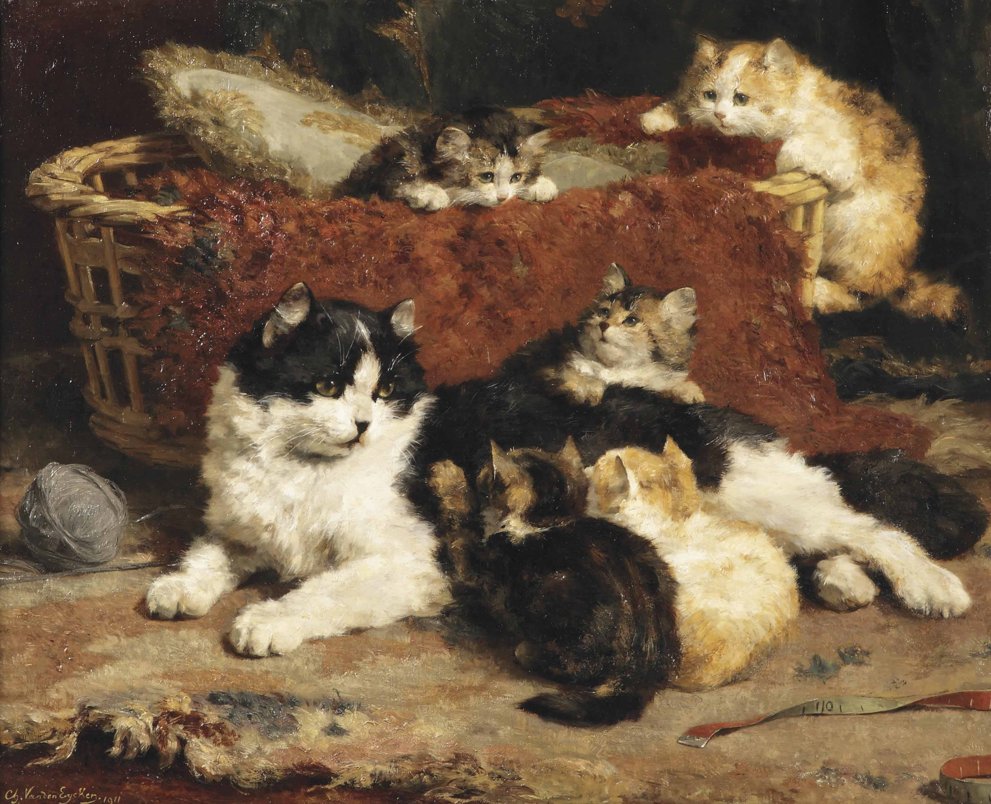 'Bonne Mere'; a cat and her kittens