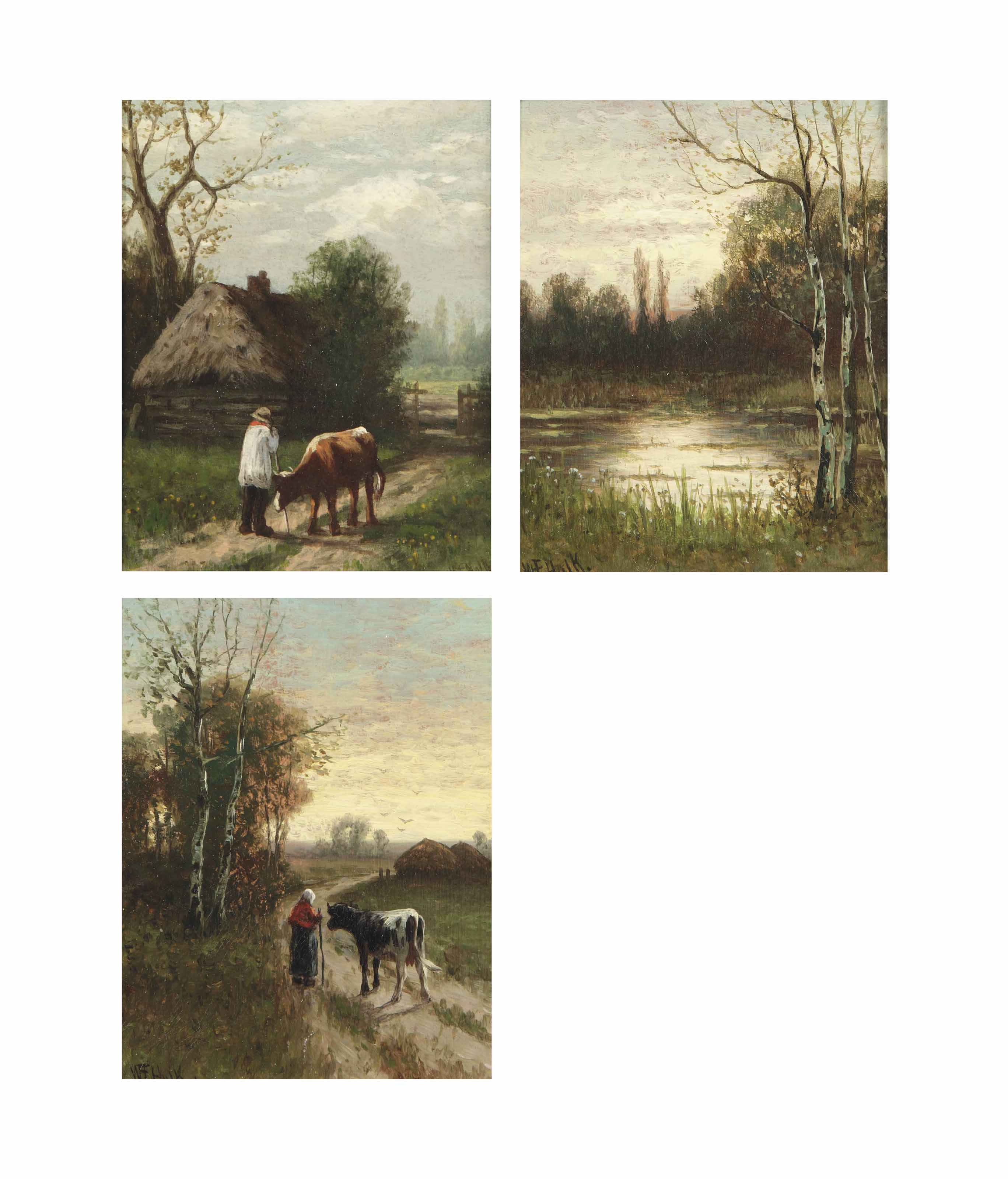 A peasant with a cow near a wooden shed; and A wooded landscape at sunset with a peasant woman and a cow; a wooded landscape with a pond