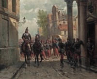 French infantery entering a town