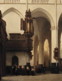 The interior of the Nieuwe Kerk in Amsterdam with 'Burgerweesmeisjes' near the Transept organ