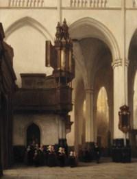 The interior of the Nieuwe Kerk in Amsterdam with 'Burgerweesmeisjes' near the Transept organ