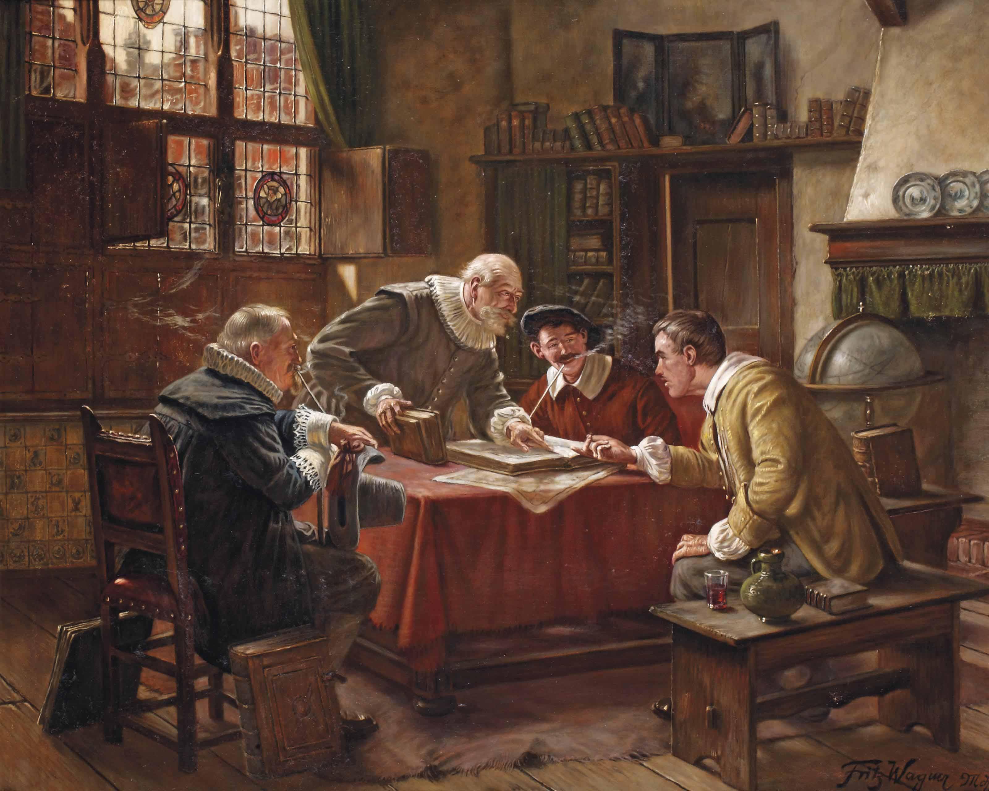 An interior with men conversing