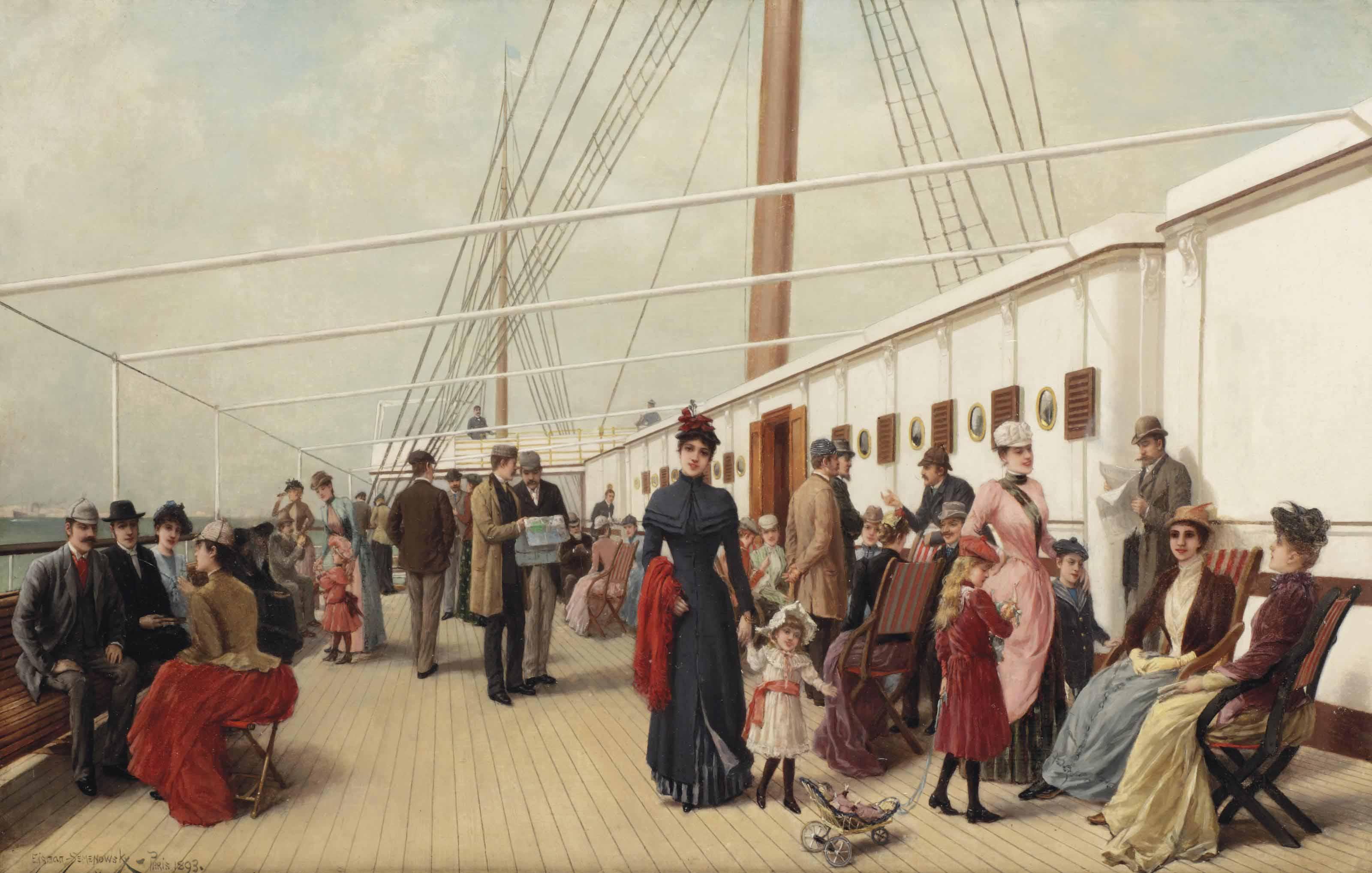 Elegant figures strolling on the upper deck of an ocean steamer