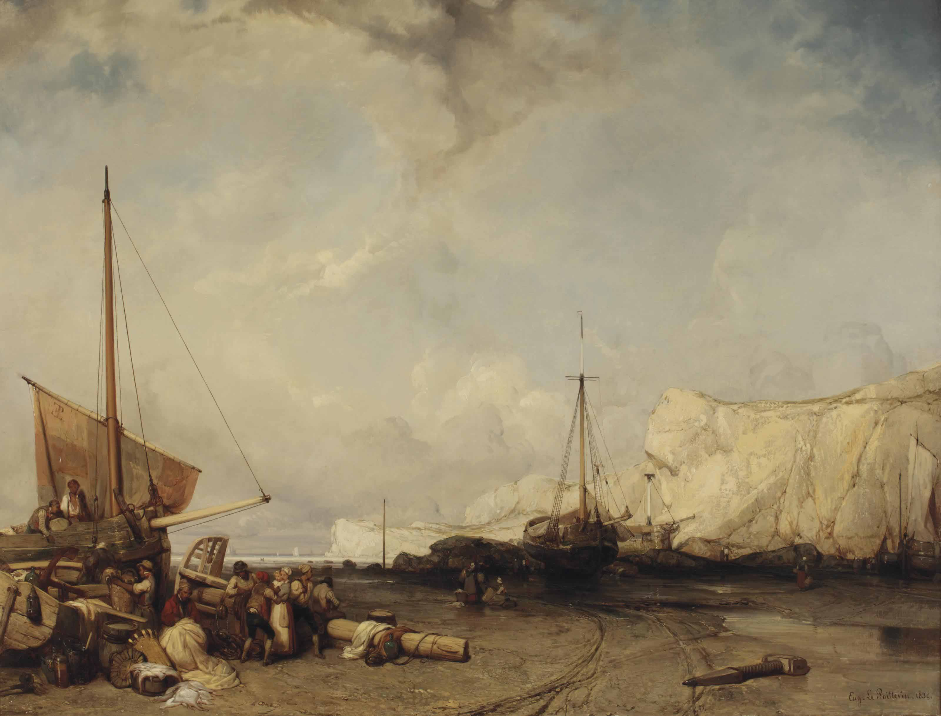 Fisherfolk on the banks of Normandy
