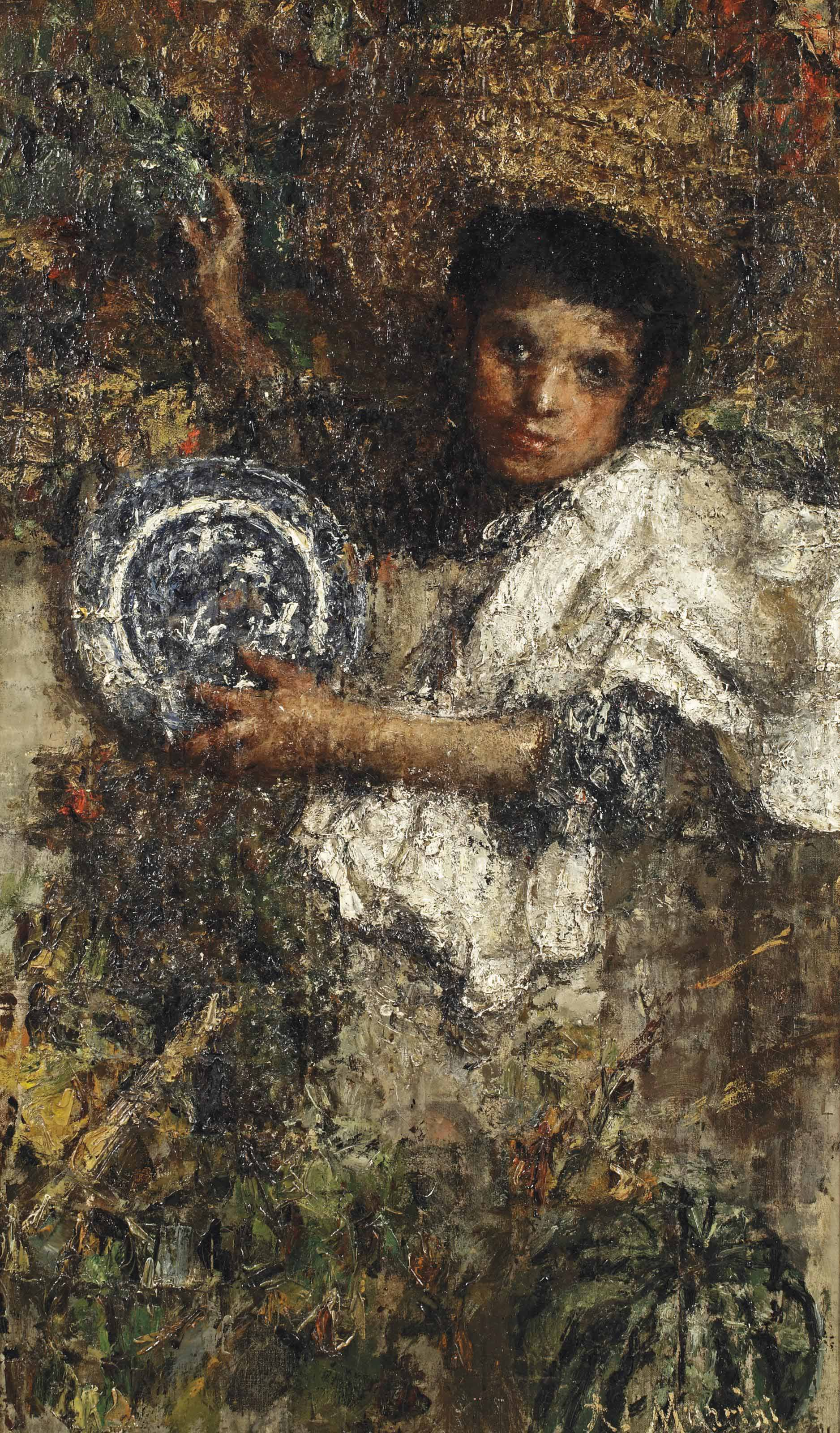 An Italian boy in a vineyard (recto); Study of a boy (verso)
