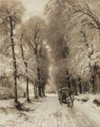 A horse-drawn cart on a snowy path