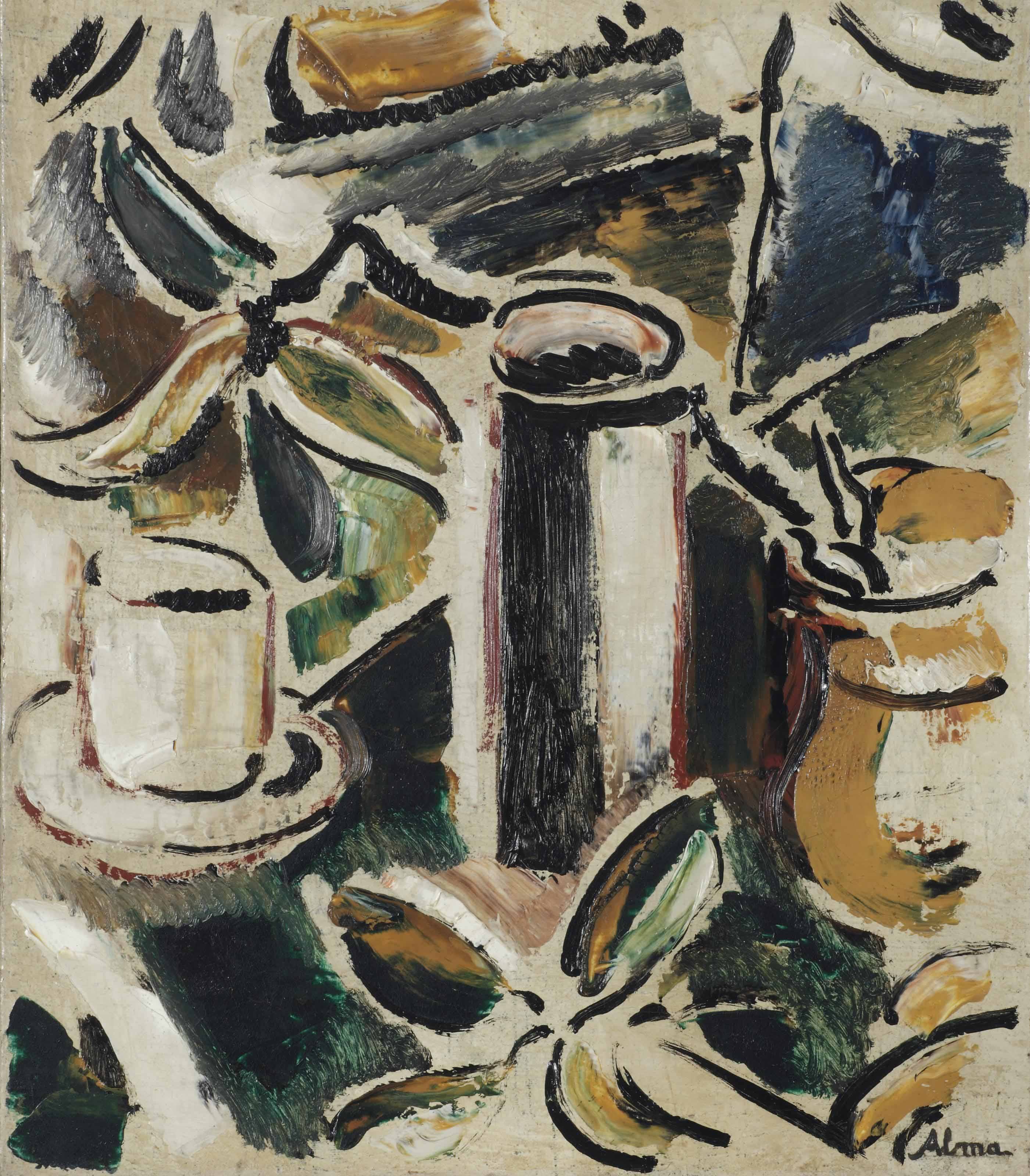 A still life with a cup and jars