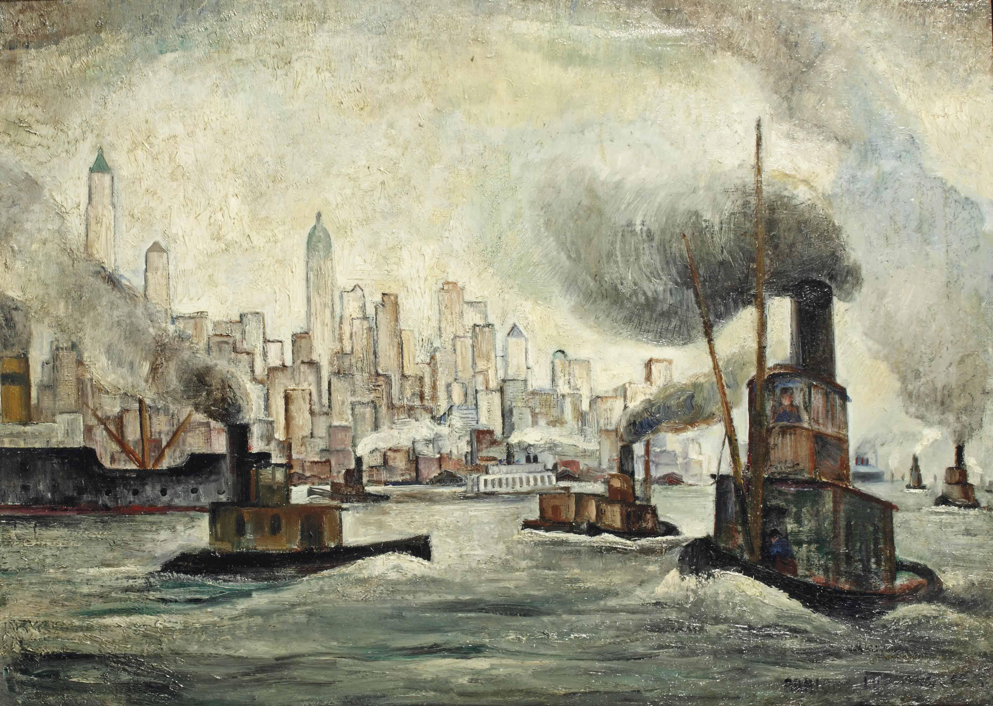 Steam vessels on the Hudson, New York beyond