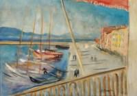 Vue du port de Saint-Tropez de l'Hotel Sube