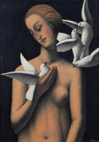 Le Nid/Une fille debout avec quatre colombes
