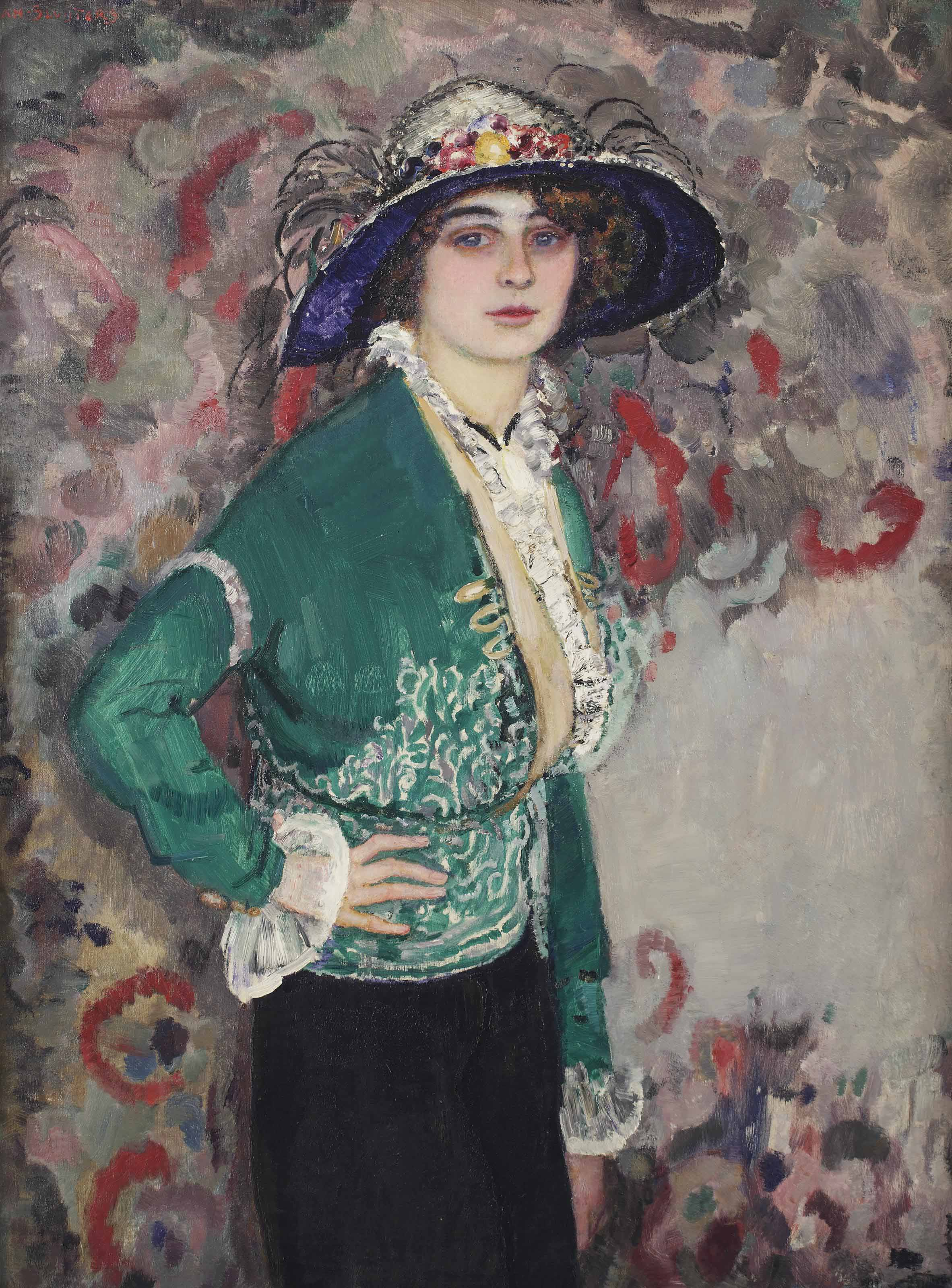 A portrait of a lady with a hat