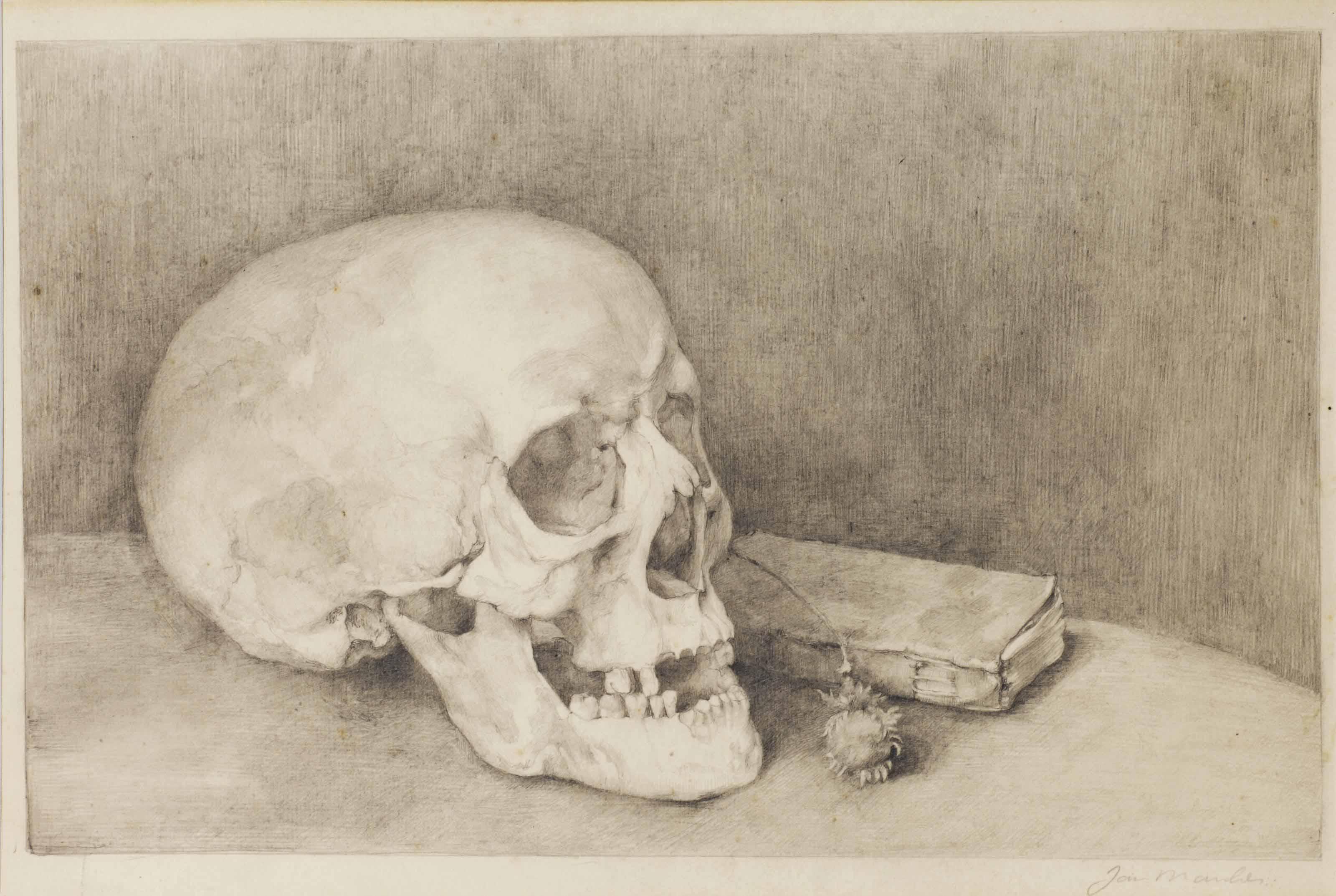 Stilleven met schedel en boek