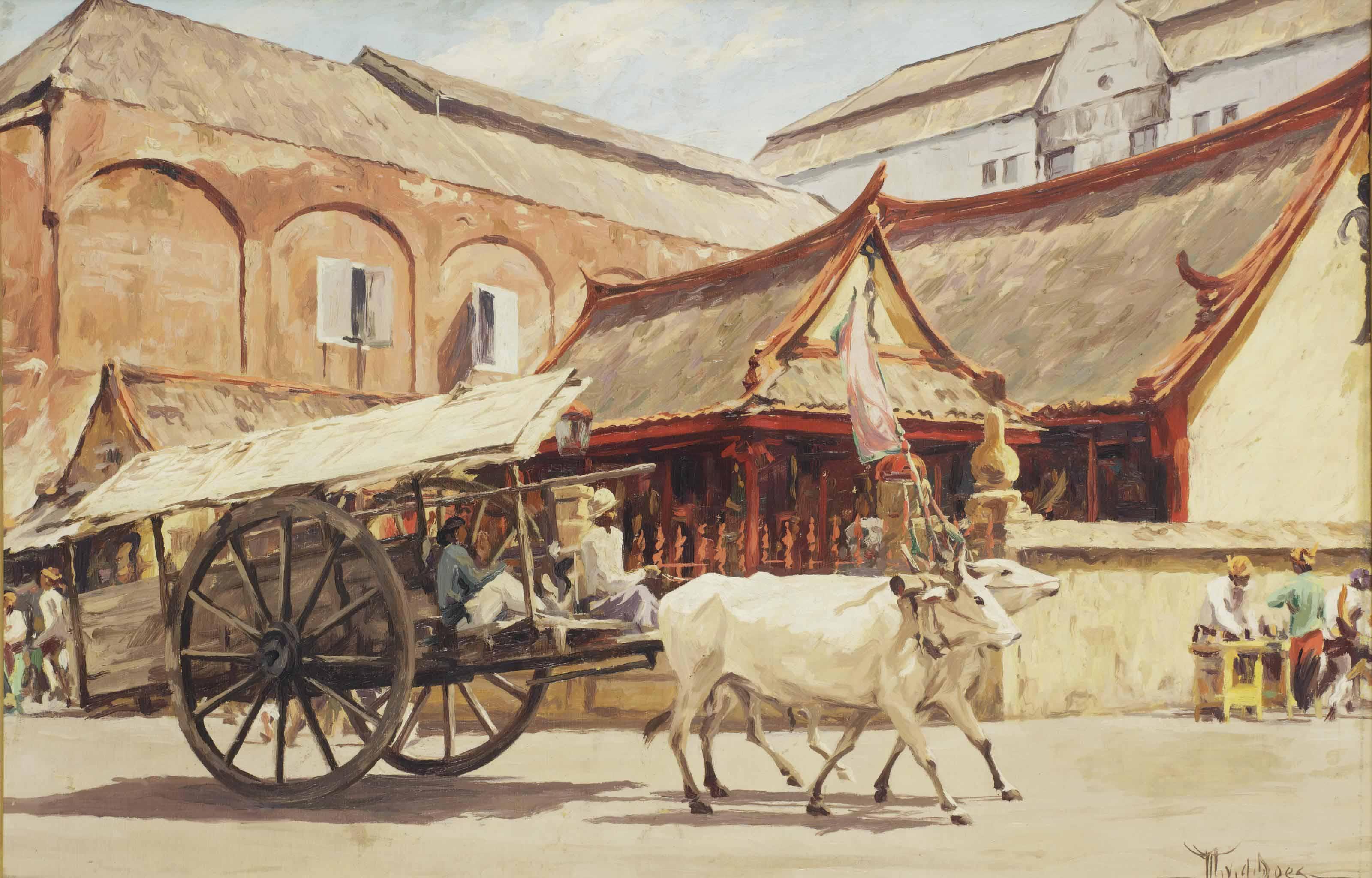 An ox-drawn cart, Surabaya
