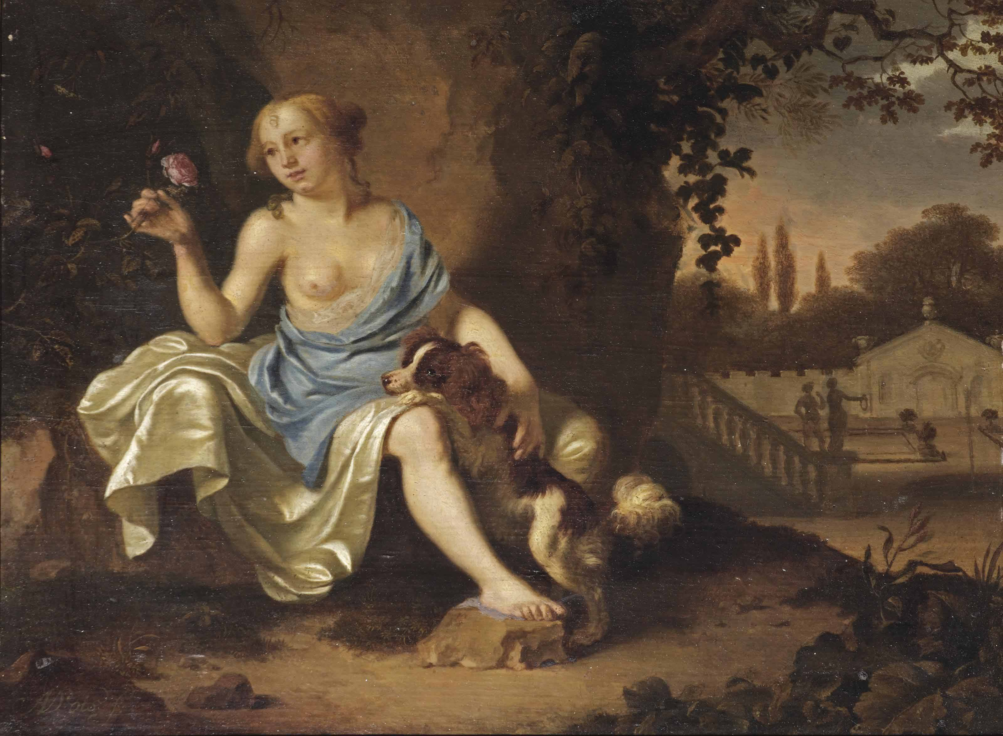 A classical park landscape with a seated lady dressed as a nymph and her dog