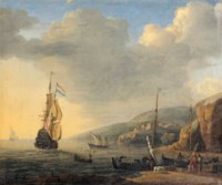 A Mediterranean landscape with merchants and fishermen loading boats