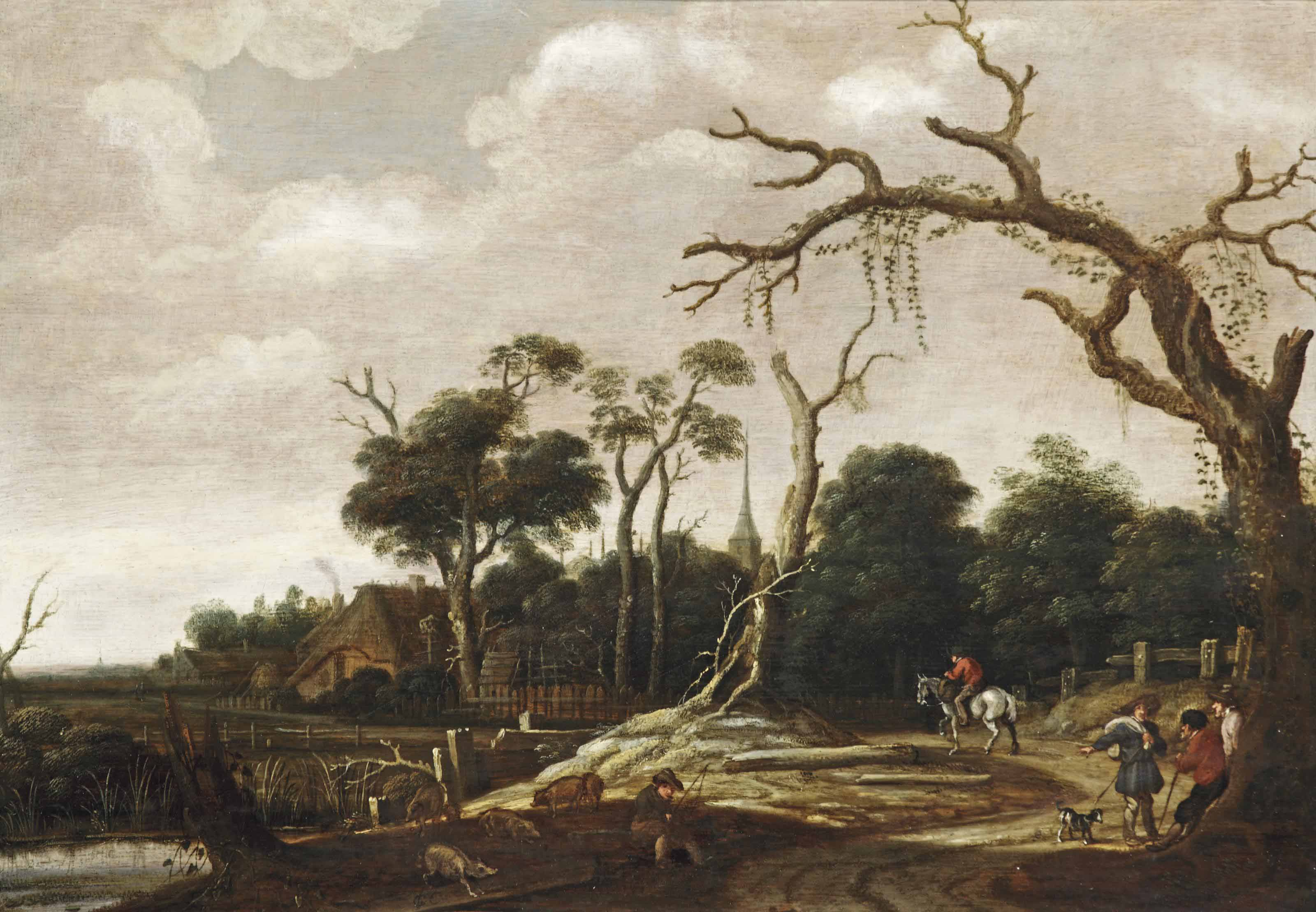 A wooded landscape with travellers on a road, a swineherd near the river bank and a village beyond