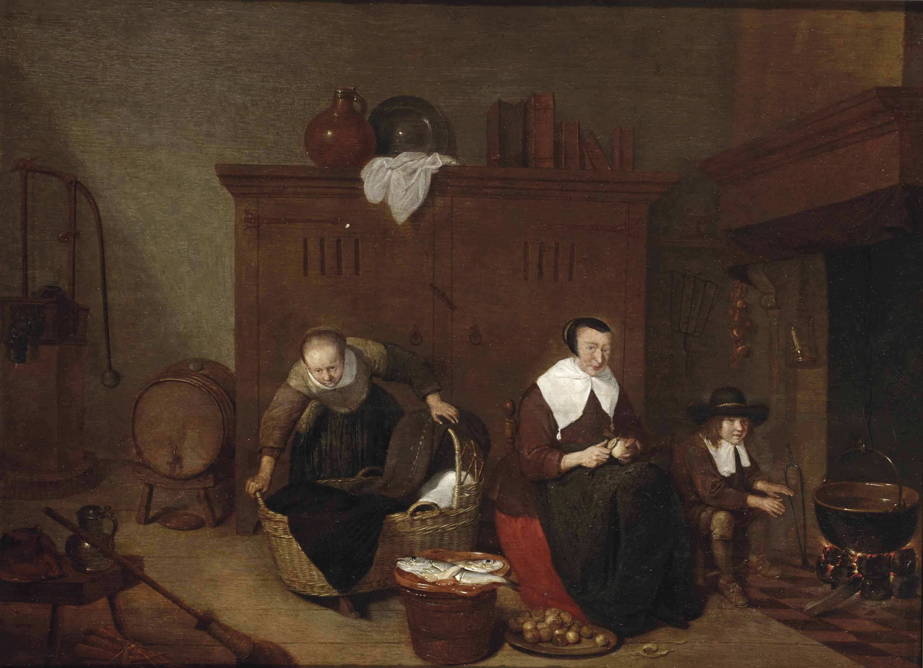 A kitchen interior with a maid peeling turnips, a woman tending to a baby and a boy warming his hands by the fire