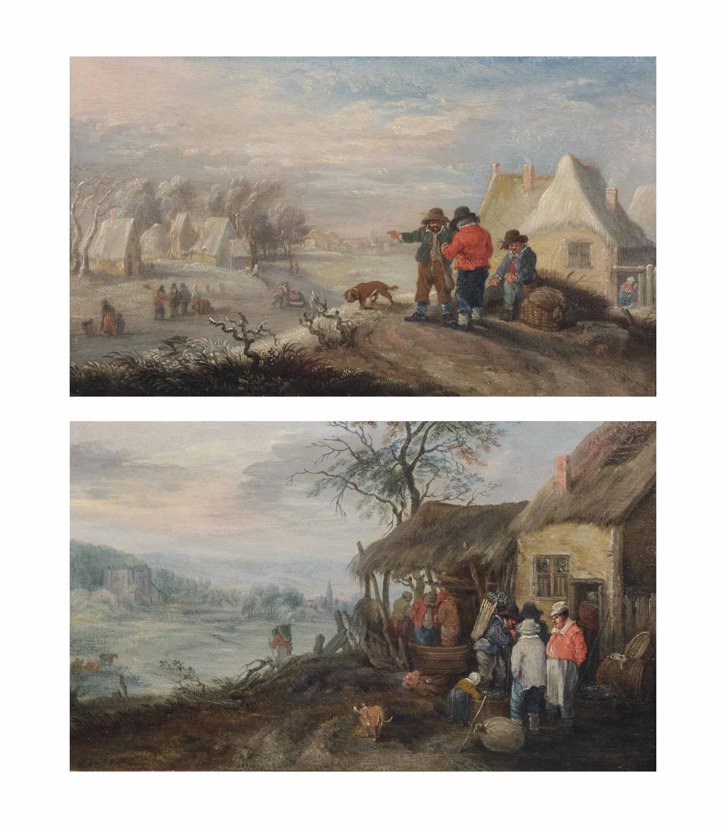 Winter: A landscape with several figures on a frozen river by a village; and Autumn: a hilly landscape with figures making wine