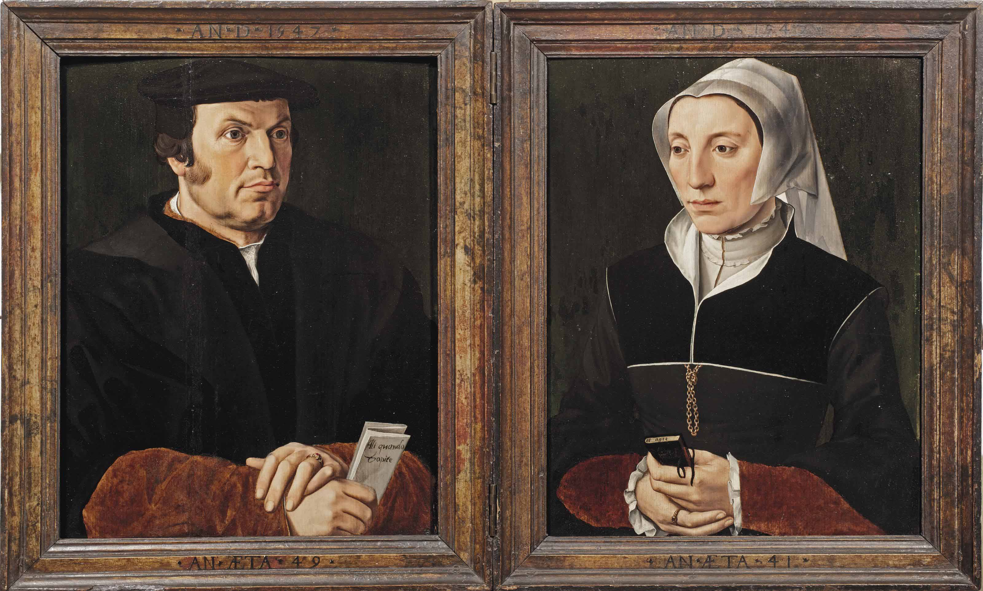 A diptych: left wing: Portrait of Leonard (Lenaert) van Casembroot (1495-1558), Burgomaster of Bruges, half-length, in a black coat and a black hat, holding a letter in his right hand, insribed 'Ali quoando  Capite'; right wing: Portrait of (possibly) Godelieve Brest (1510-1570), half-length, in a black dress and a white cap, holding a prayer book in her hands, inscribed 'et agite'