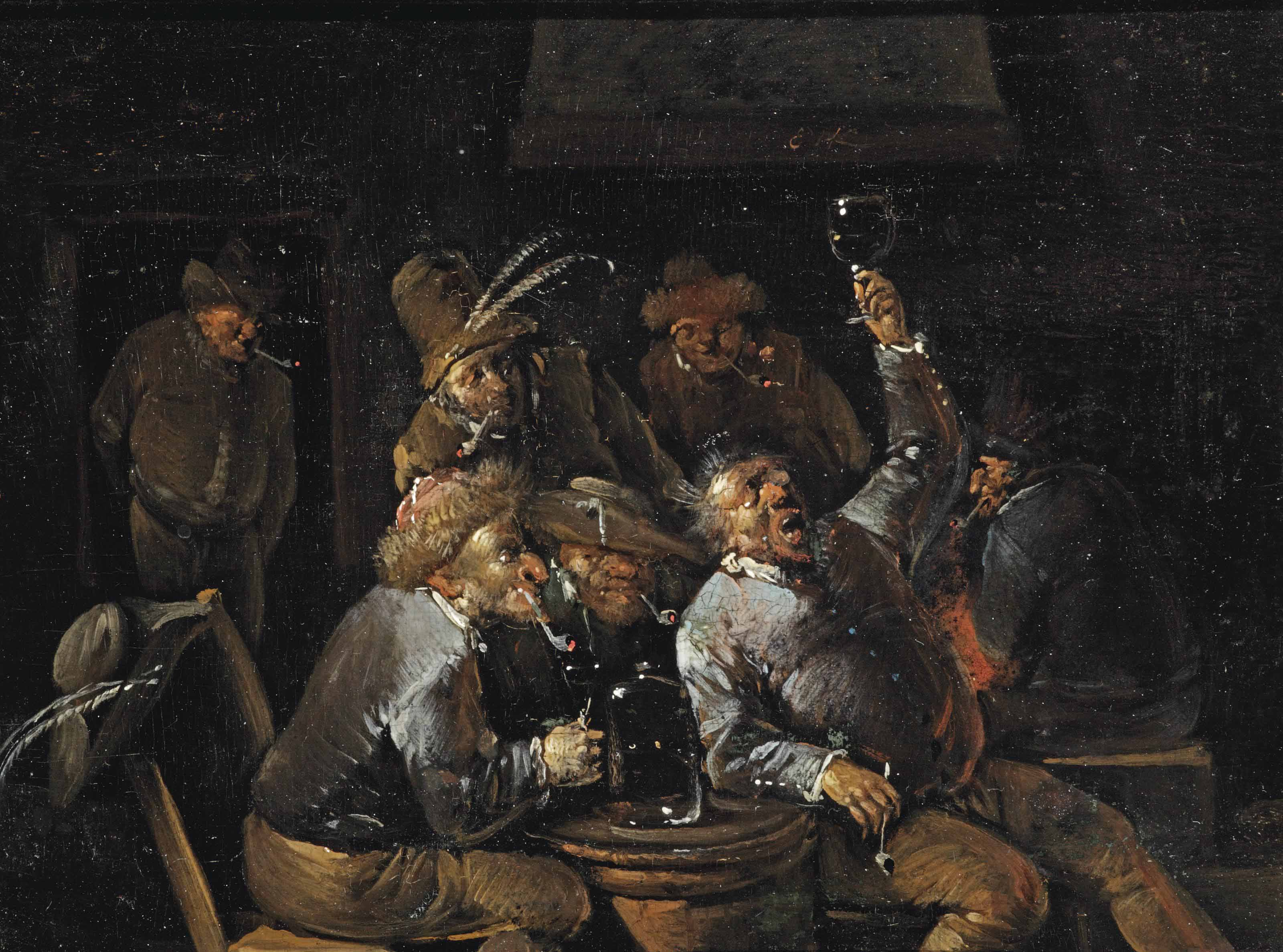 Peasants drinking and smoking in a tavern