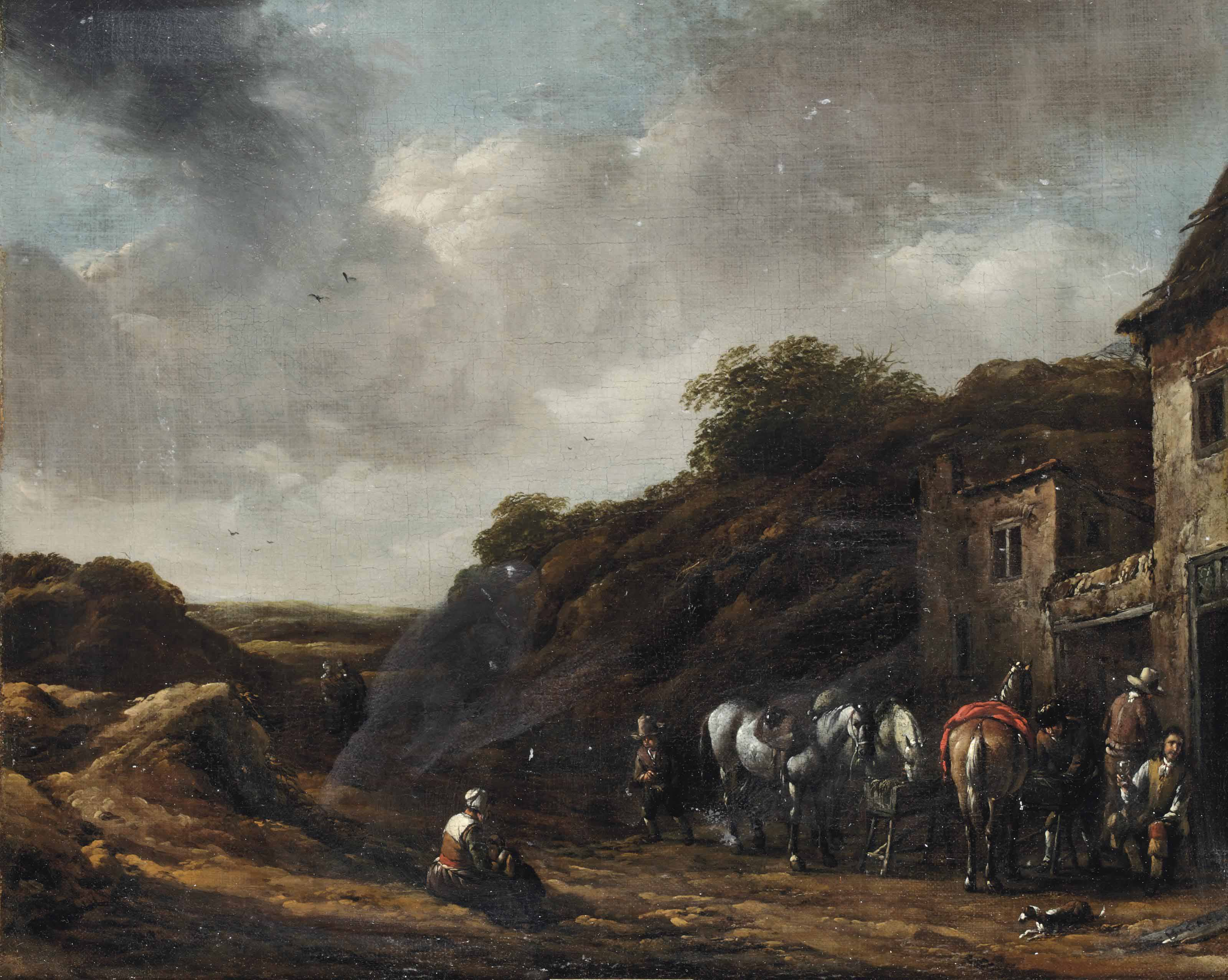 Travellers outside a tavern