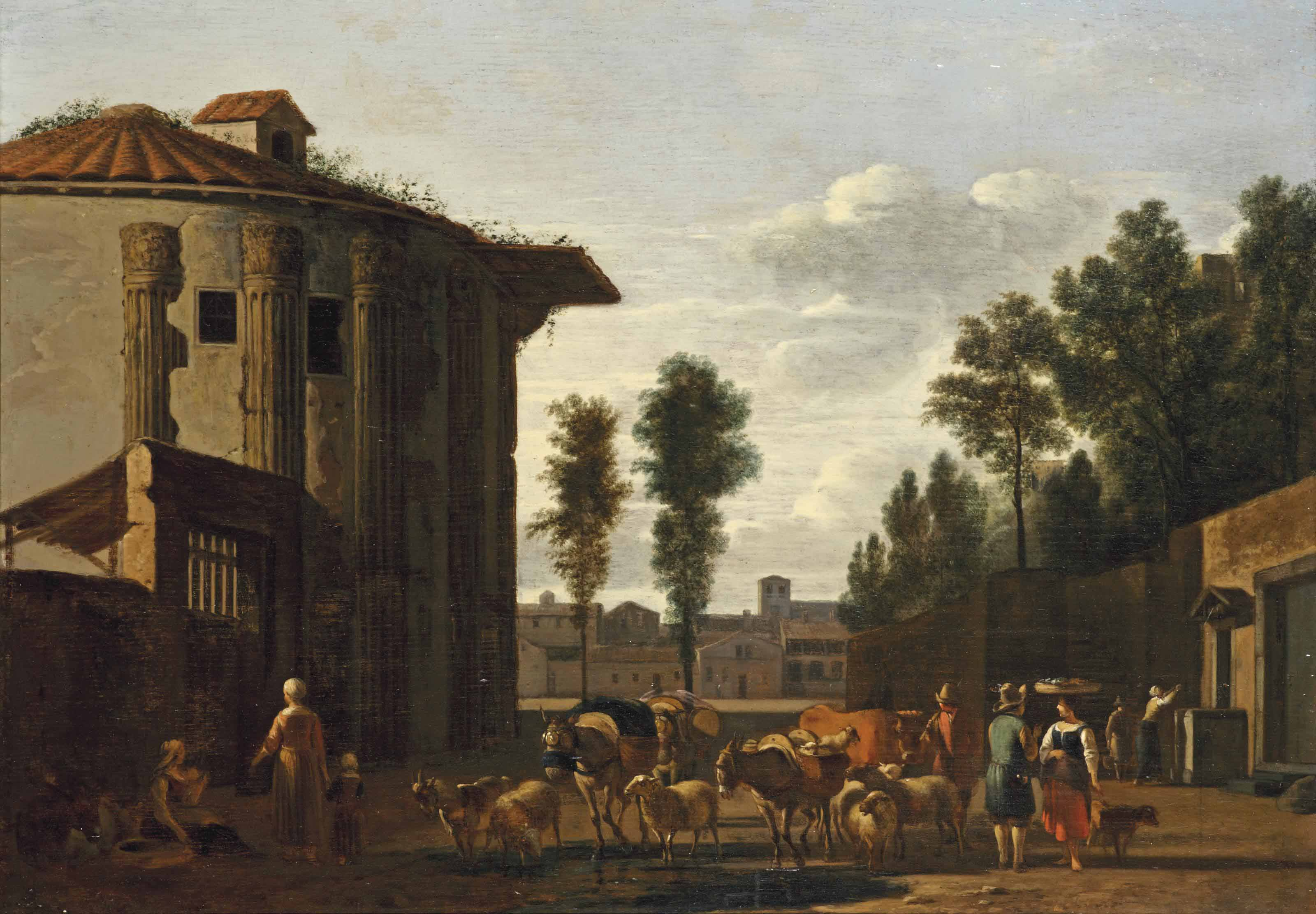 The Temple of Vesta, Rome, with a herdsman and other figures