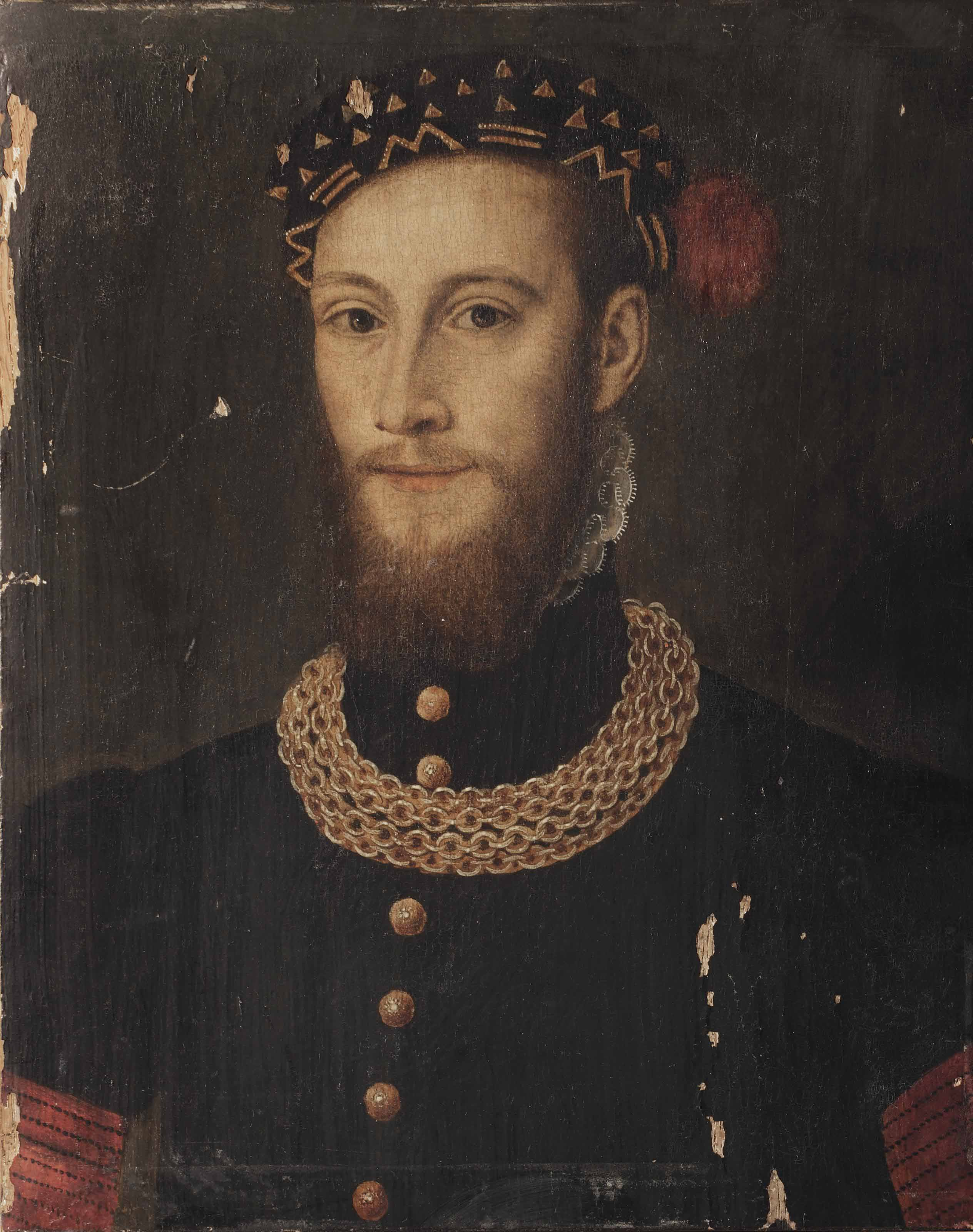 Portrait of a bearded gentleman, bust-length, in a black coat with gold buttons and chain, wearing a black feathered cap with gold embroidery