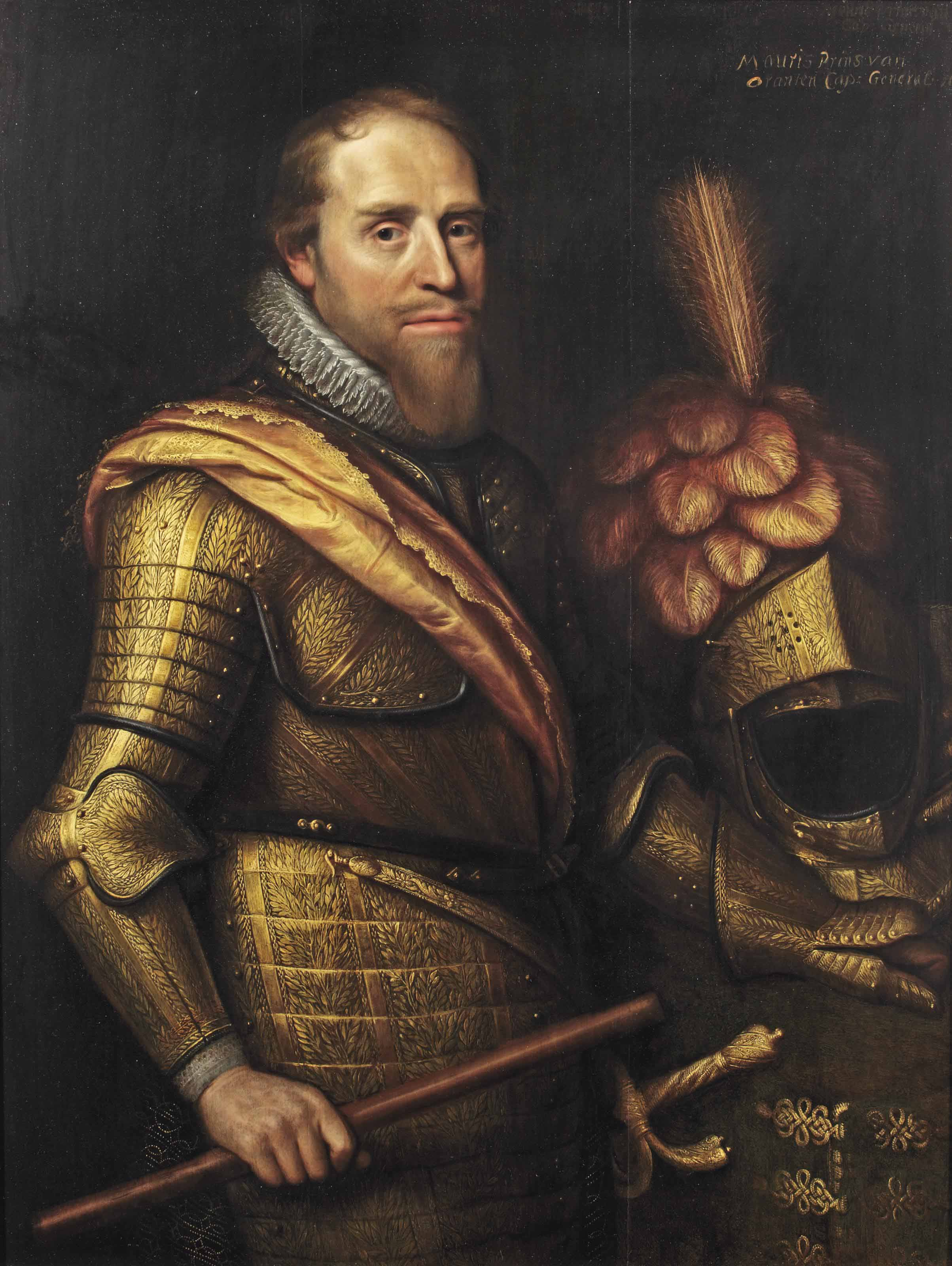 Portrait of Maurice of Nassau, Prince of Orange (1567-1625), three-quarter-length, in elaborate gilt wheatsheaf armour and an orange sash
