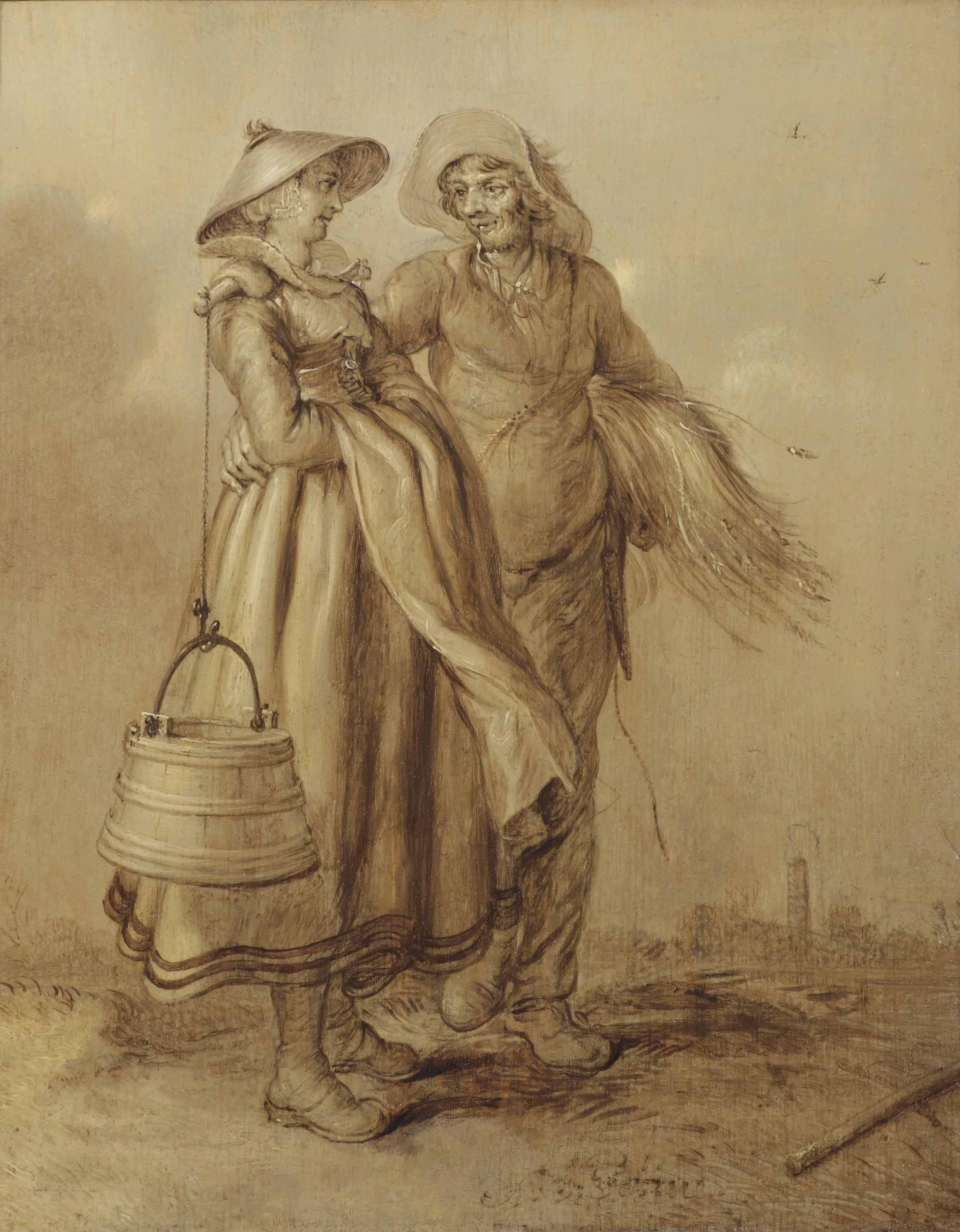 A peasant couple in a landscape