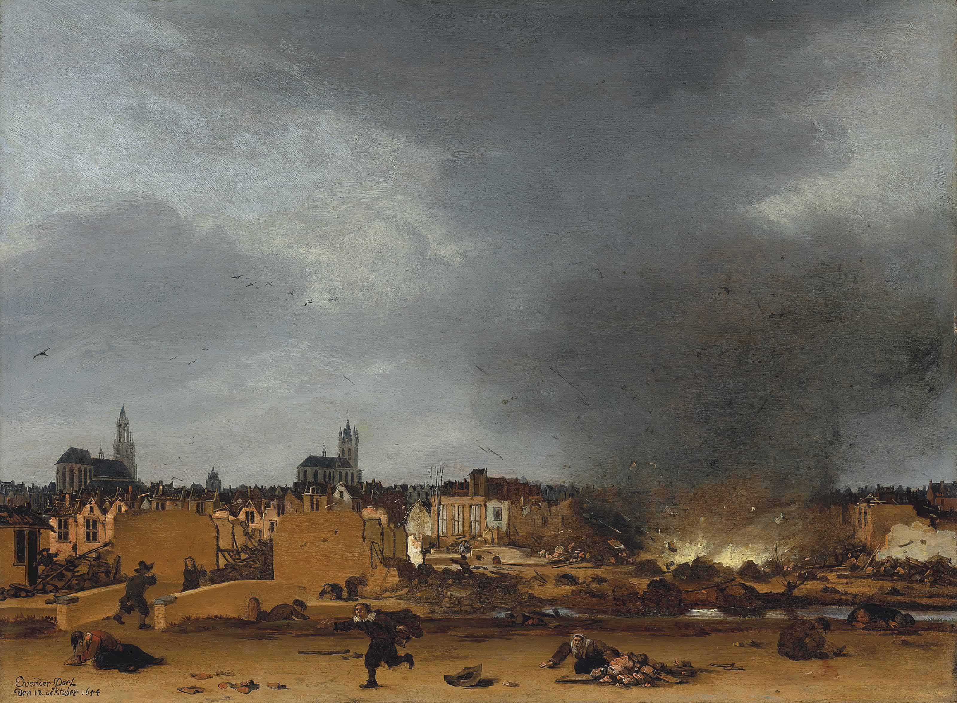 A view of Delft with the explosion of 1654