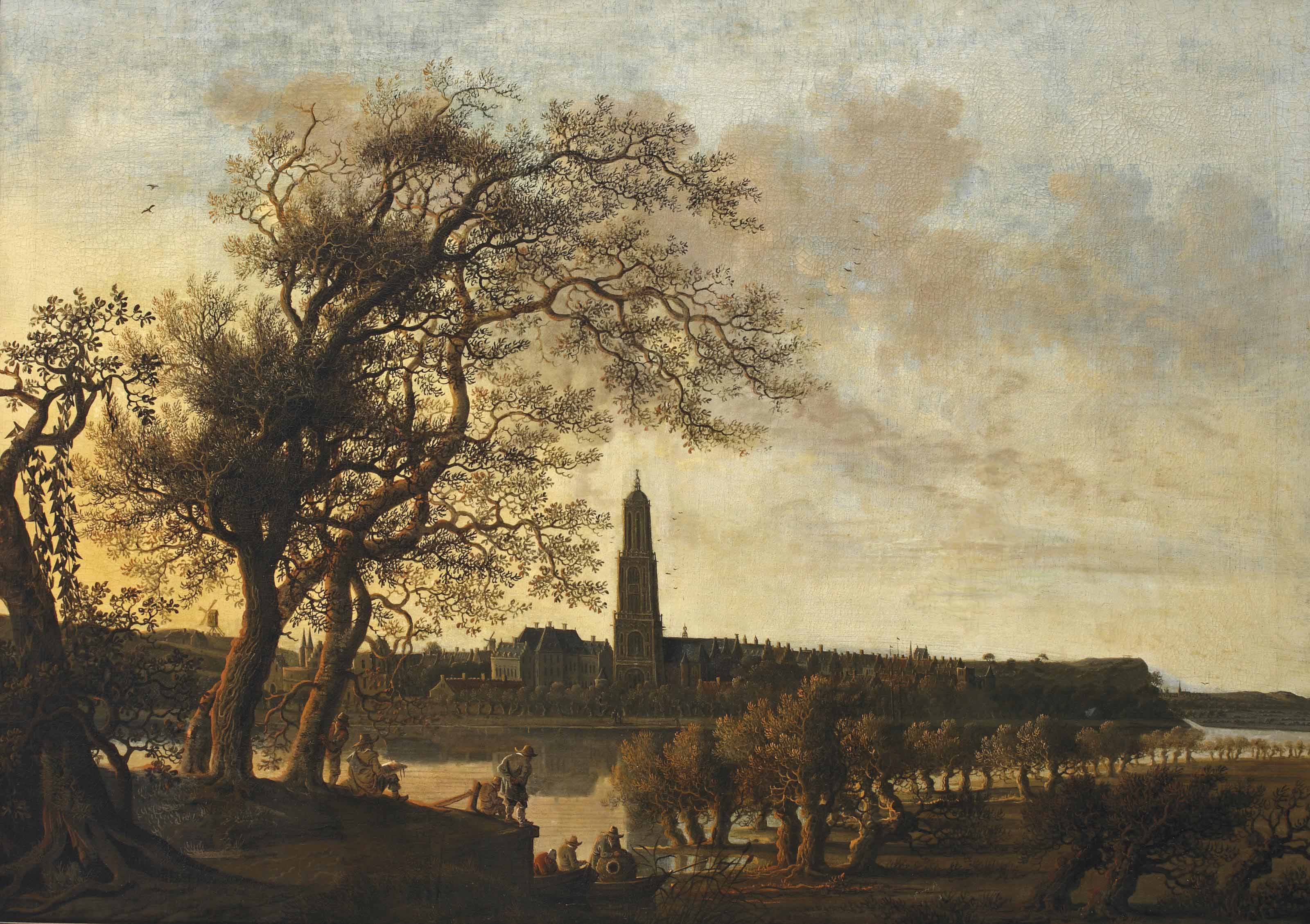 View of Rhenen with figures along the Nederrijn, the Cunerakerk and the palace of the Winter King beyond