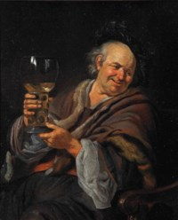 The Happy Drinker: a man seated in an interior holding a roemer