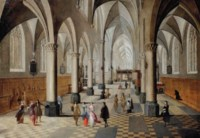 The interior of a Gothic church with elegant figures strolling and conversing