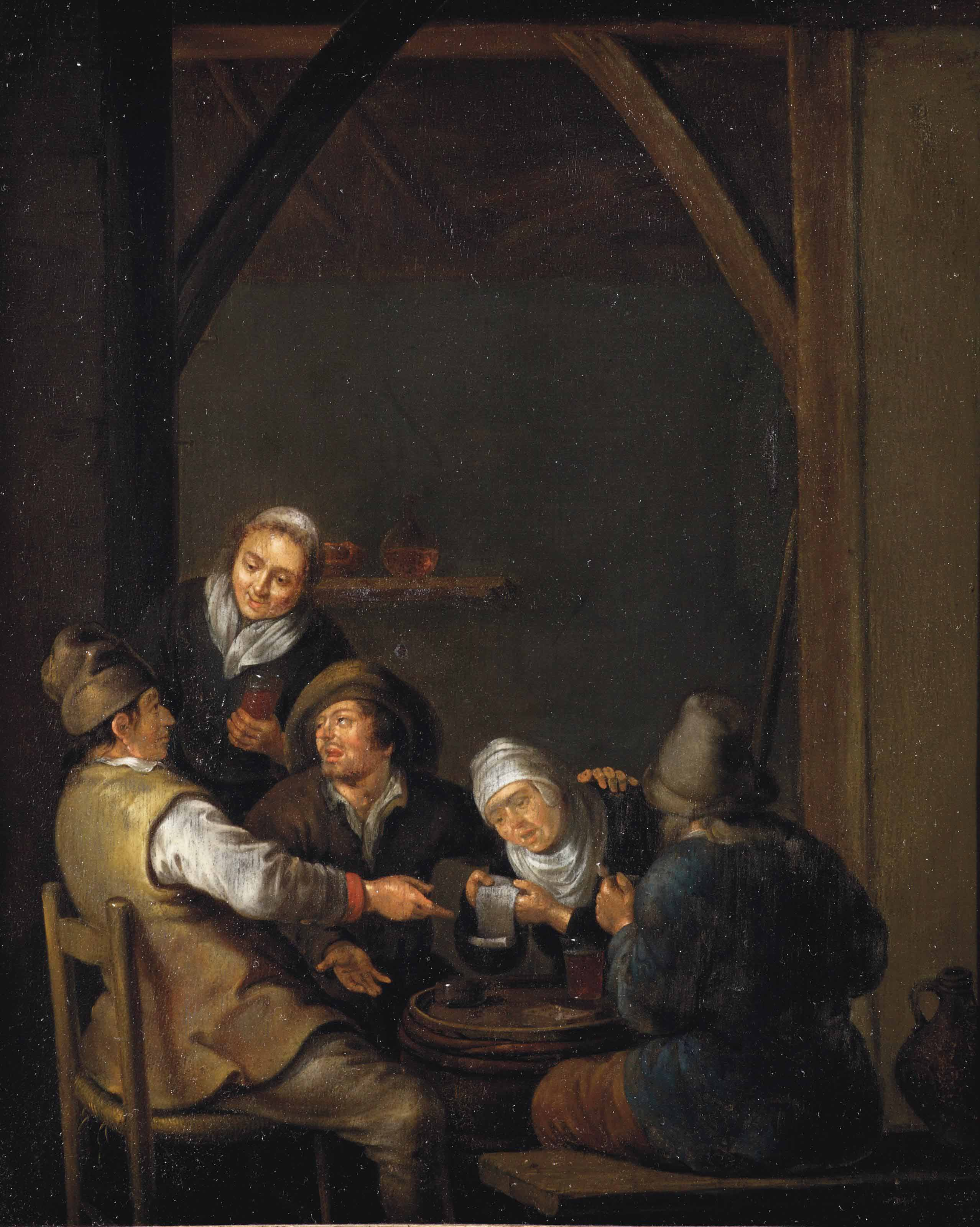 Peasants drinking in an interior