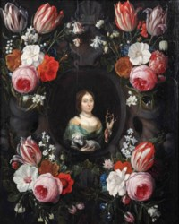 A stone cartouche surrounded by garlands of tulips, roses, carnations and other flowers with Saint Genevieve