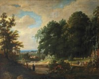 A forest landscape with figures making music and singing to an elegant company, a village beyond