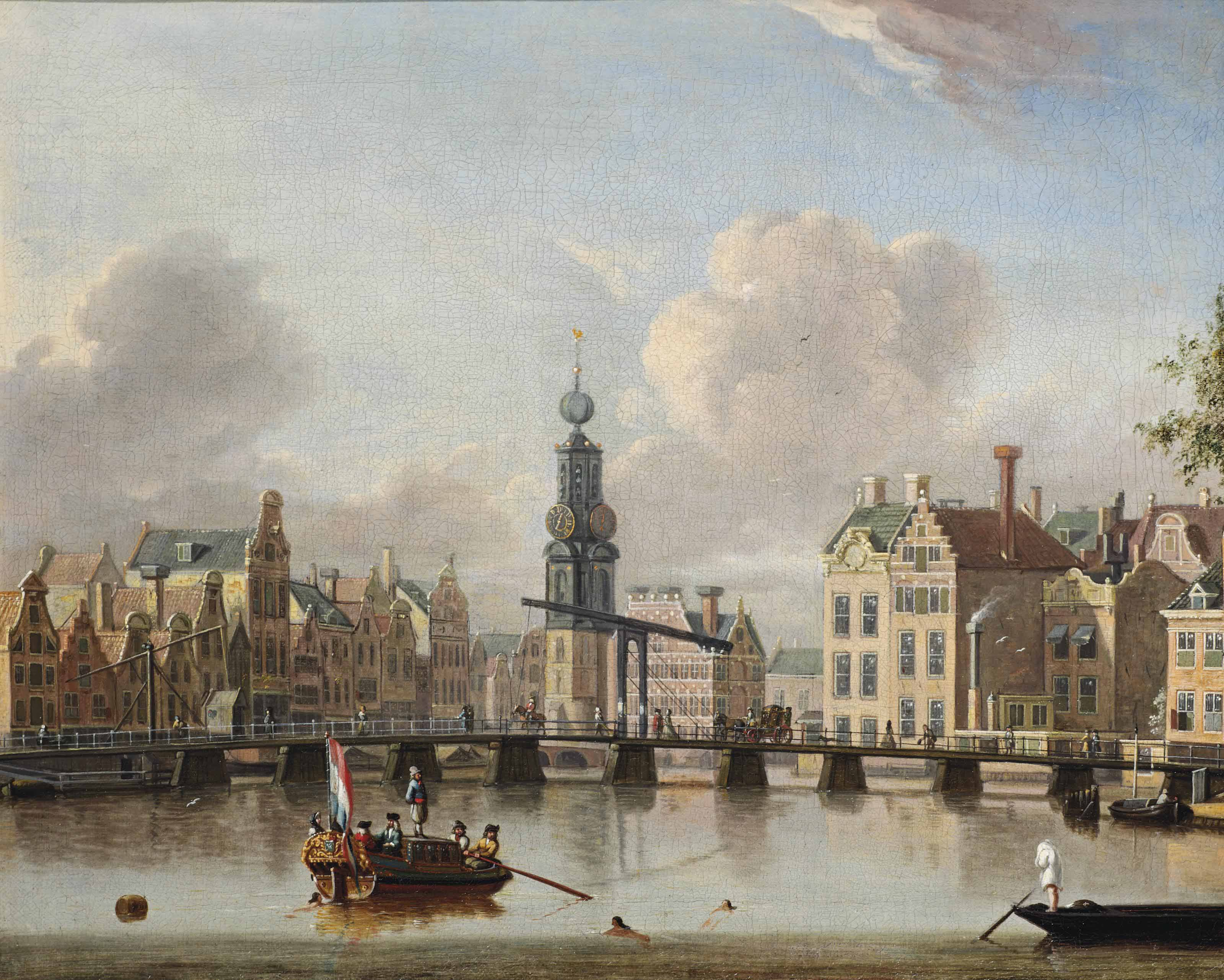 A view of the Munt, Amsterdam with figures in boats and swimming in the canal