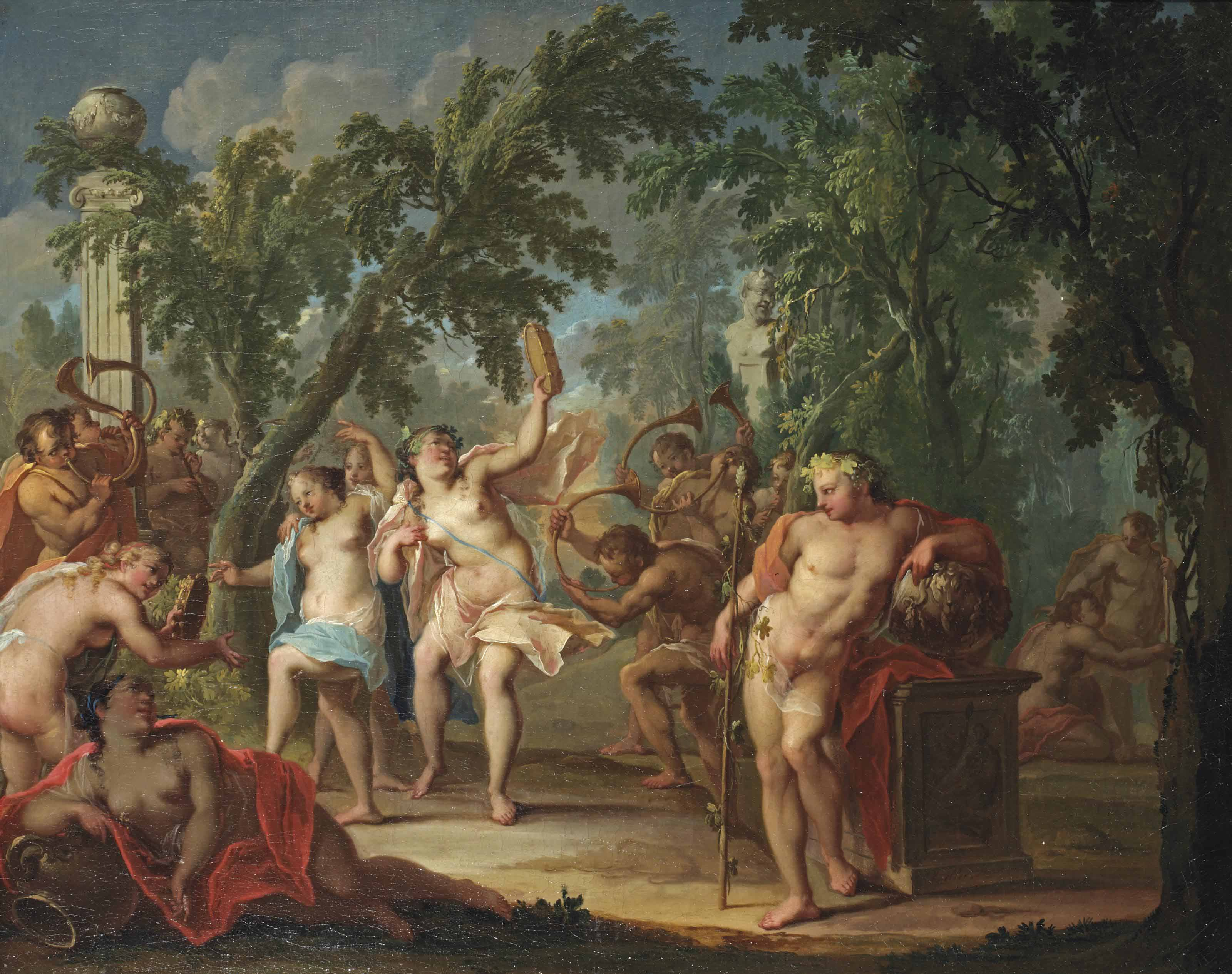 A bacchanal in a wooded landscape with nymphs dancing and satyrs blowing horns