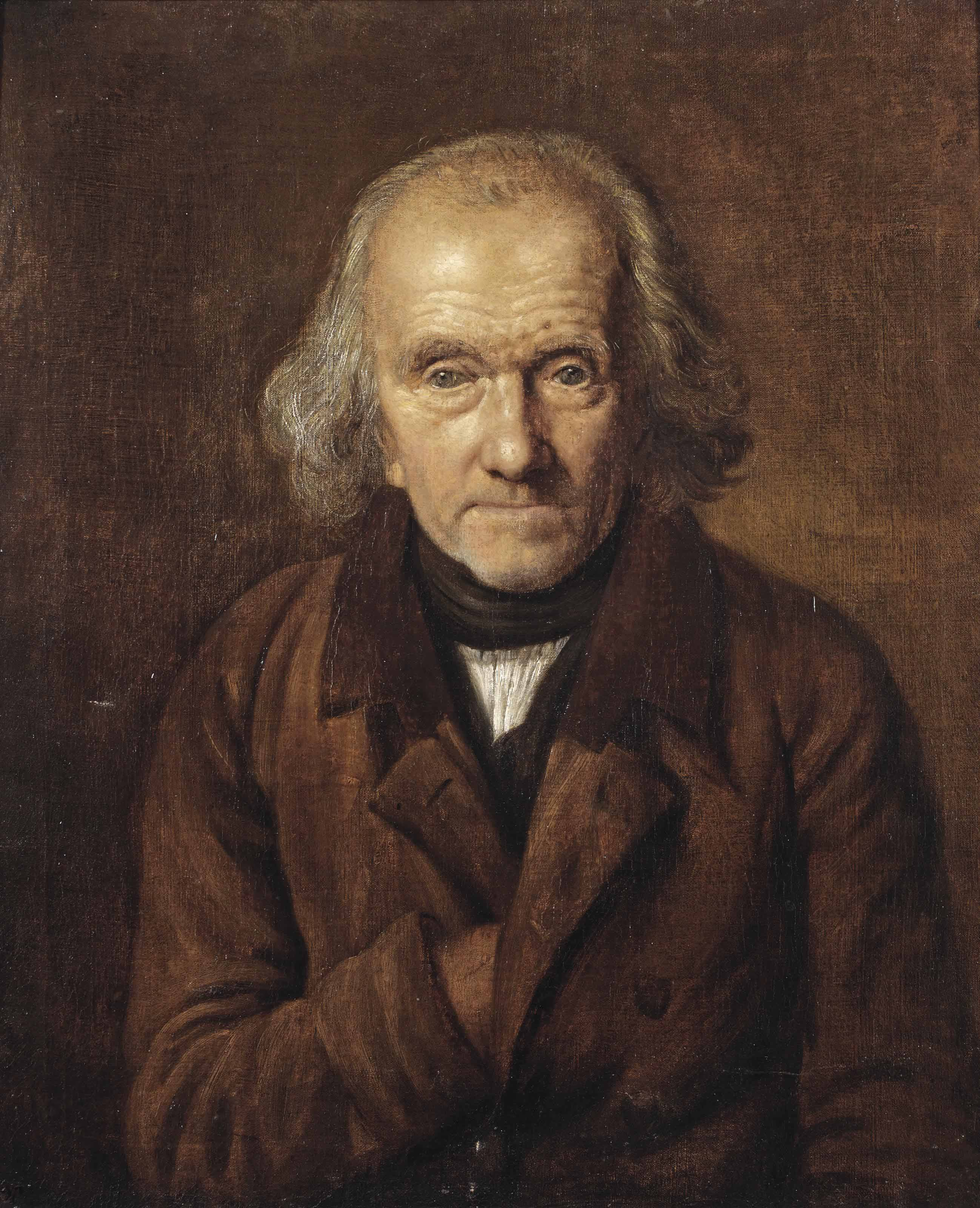 Self-portrait of the artist, half-length, in a brown coat and a white chemise