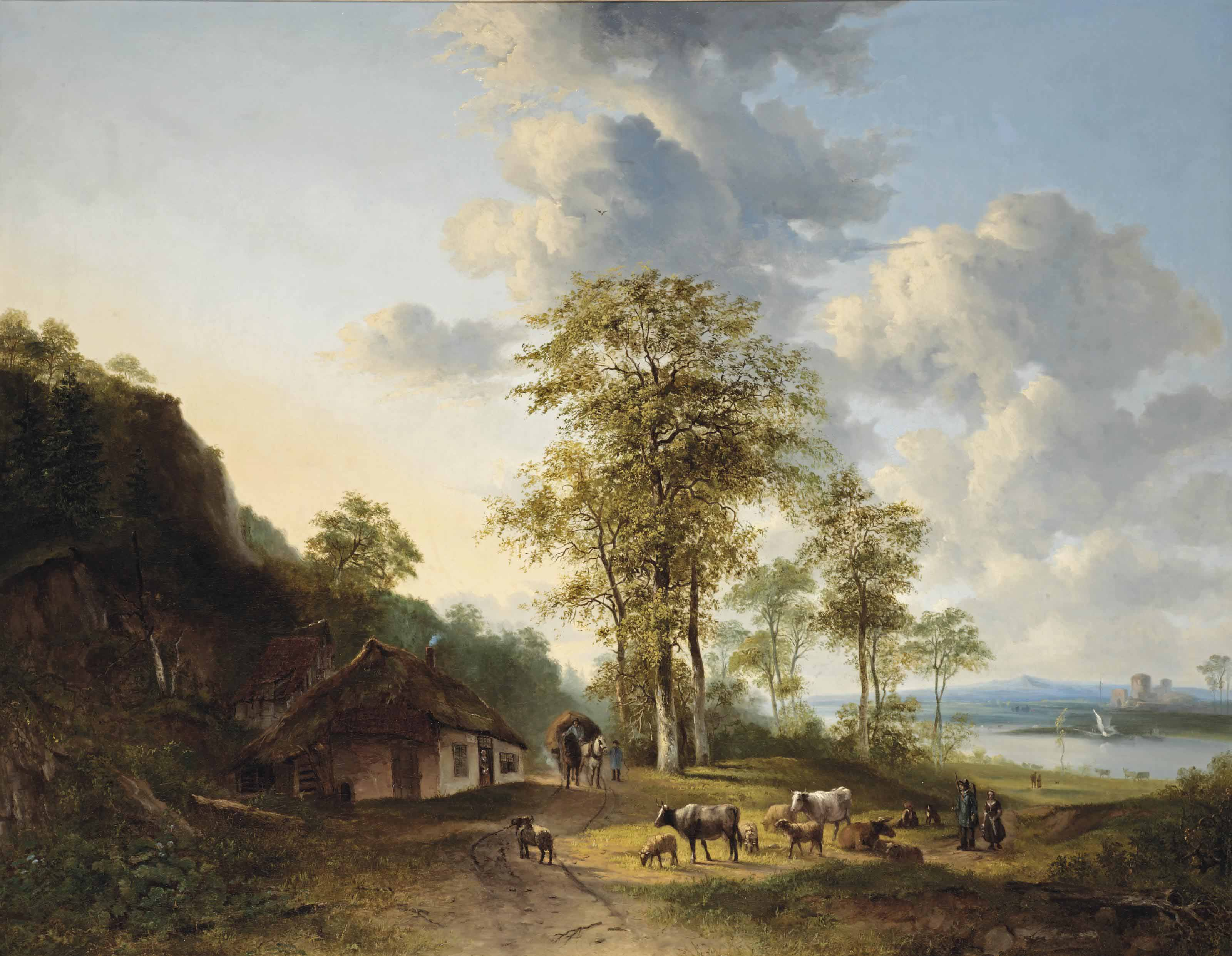 An extensive river landscape with farmers and cattle