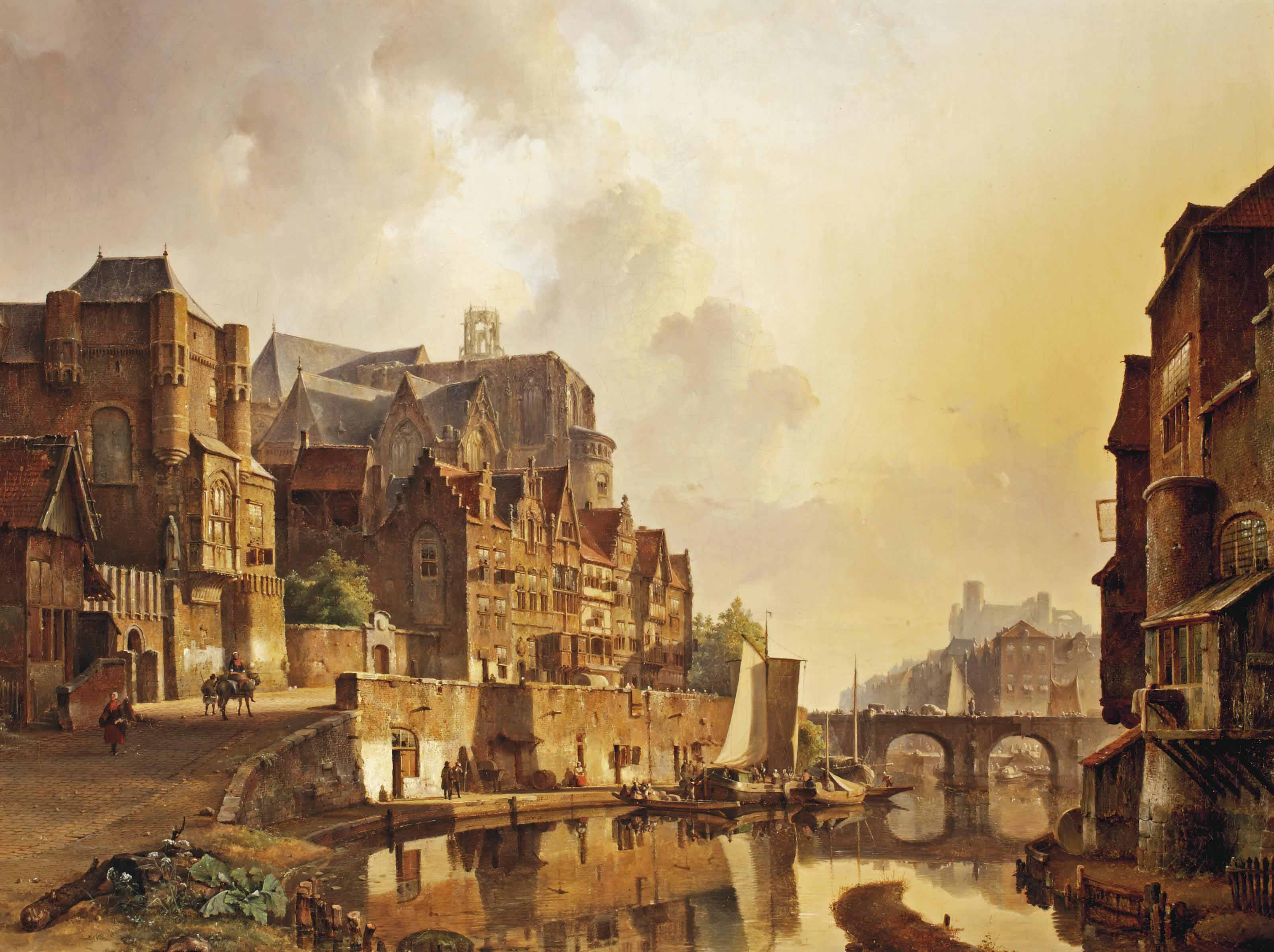 A capriccio view of a Dutch town